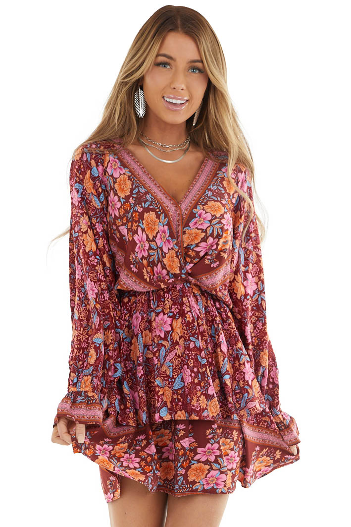 Maroon and Sienna Floral Print Surplice Ruffle Dress