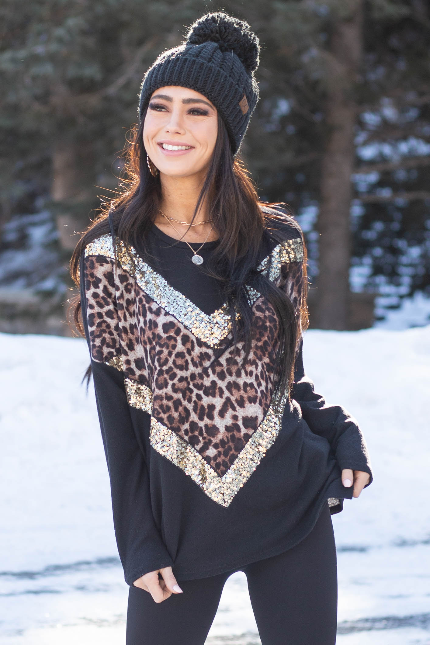 Black and Leopard Print Chevron Top With Gold Sequin Details