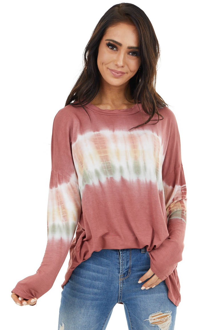 Brick Red and Ivory Long Sleeve Top with Tie Dye Detail