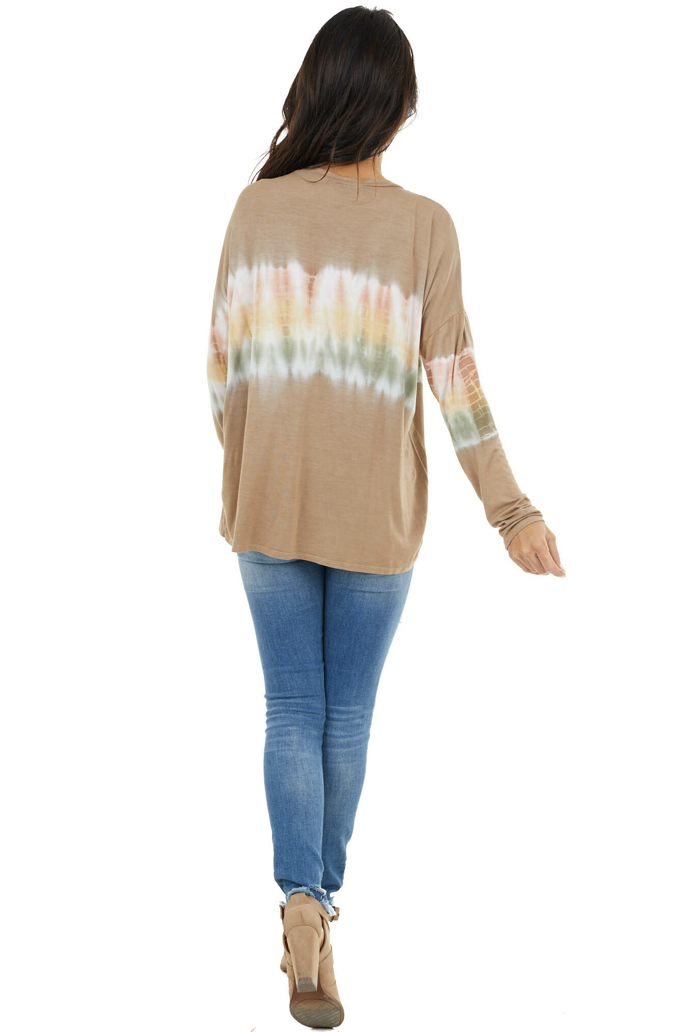 Walnut and Ivory Long Sleeve Top with Tie Dye Detail