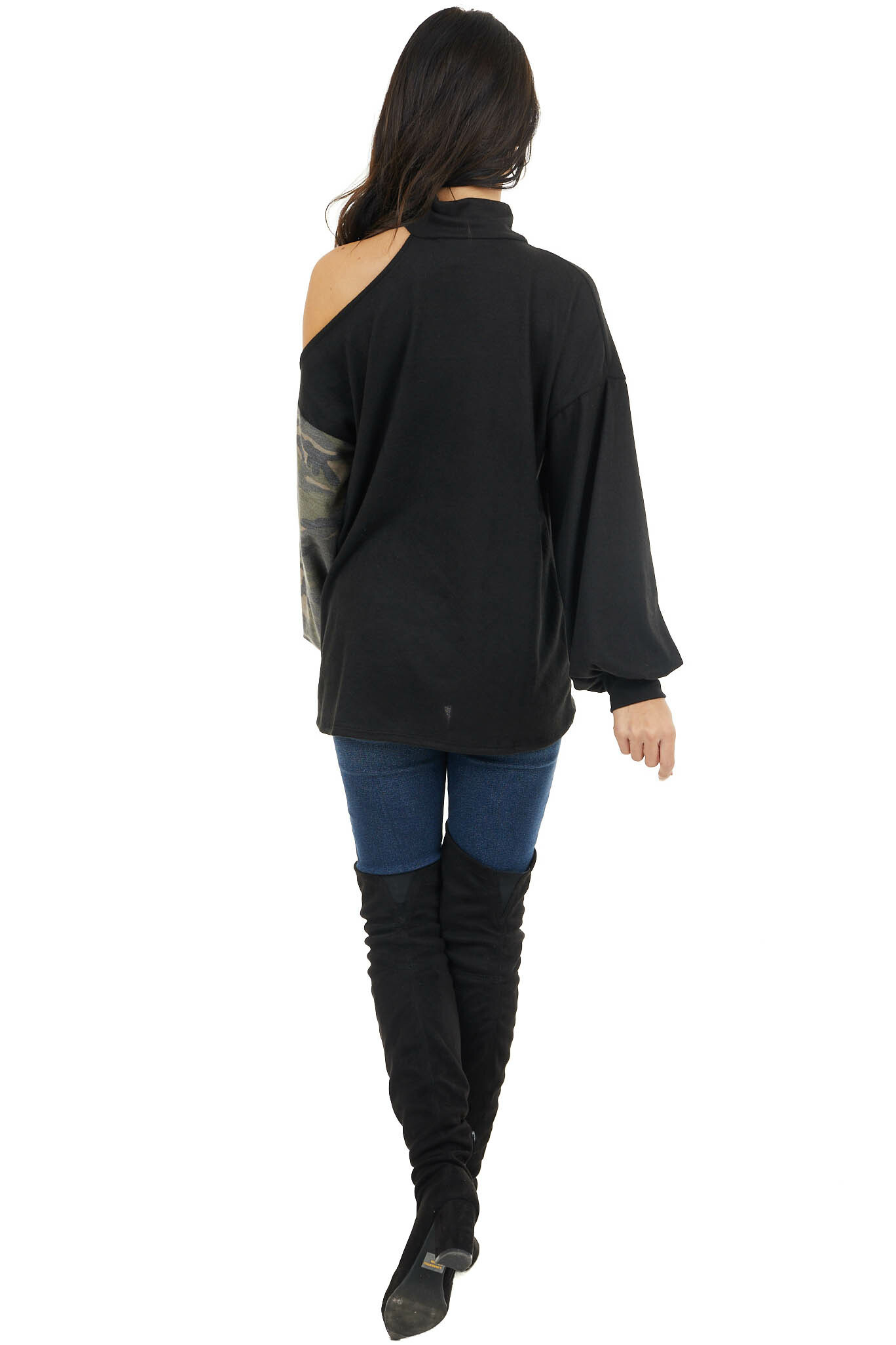 Black Cold Shoulder Long Sleeve Top with Camouflage Contrast