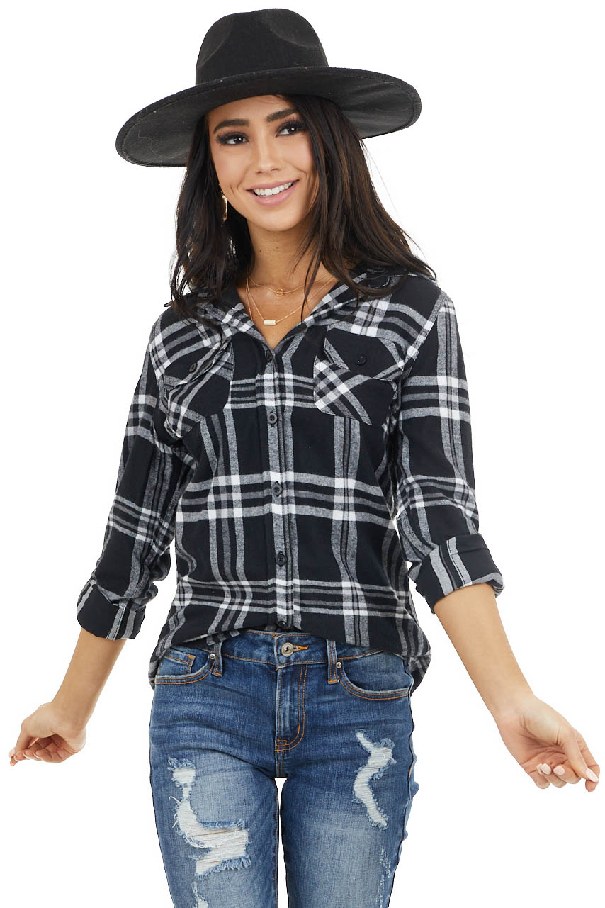 Black Plaid Hooded Button Down Flannel Top with Long Sleeves