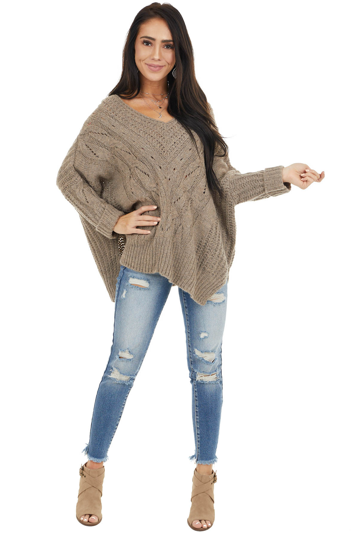 Taupe Oversized Cable Knit Sweater with Side Slits