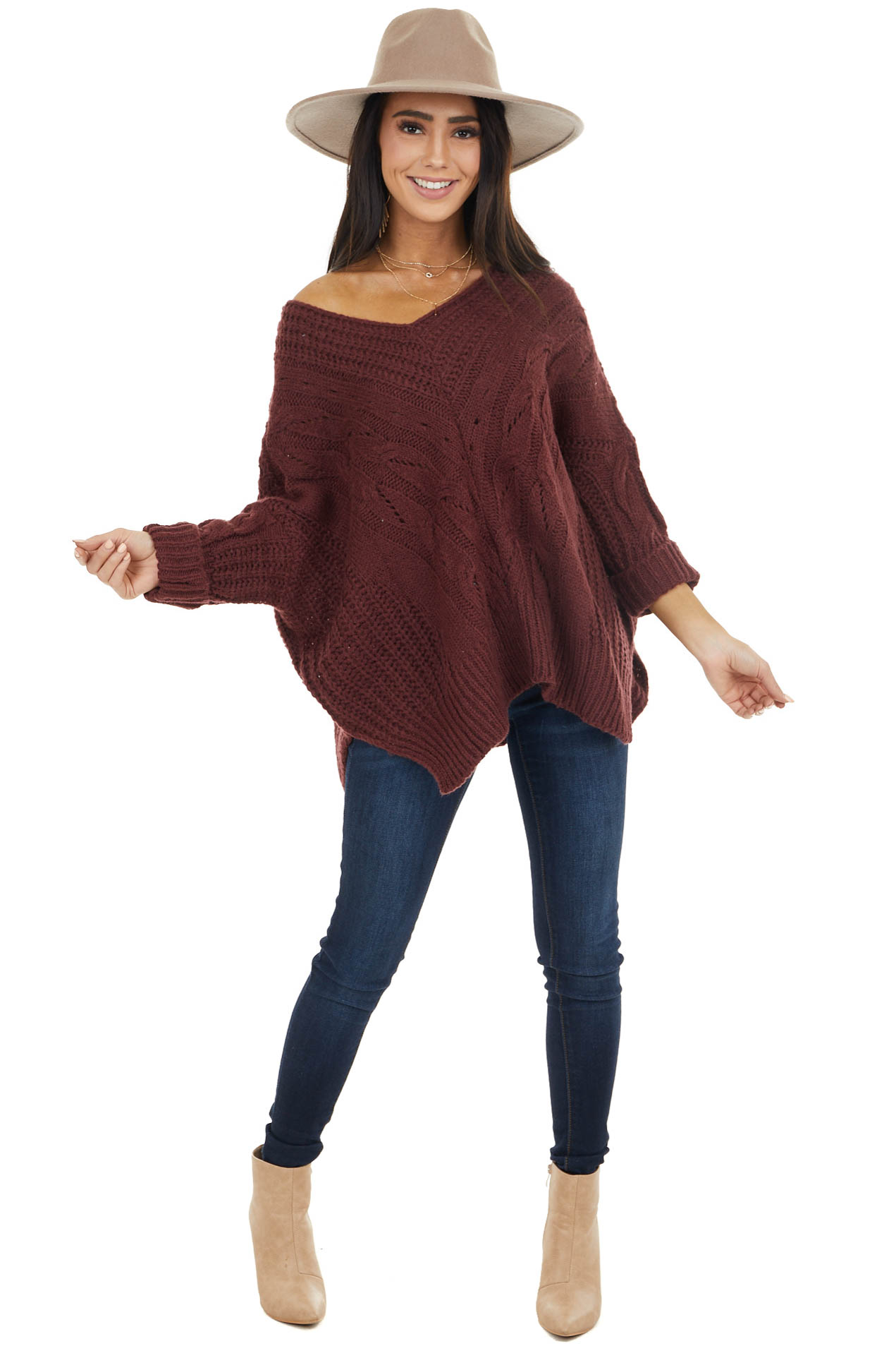 Mahogany Oversized Cable Knit Sweater with Side Slits