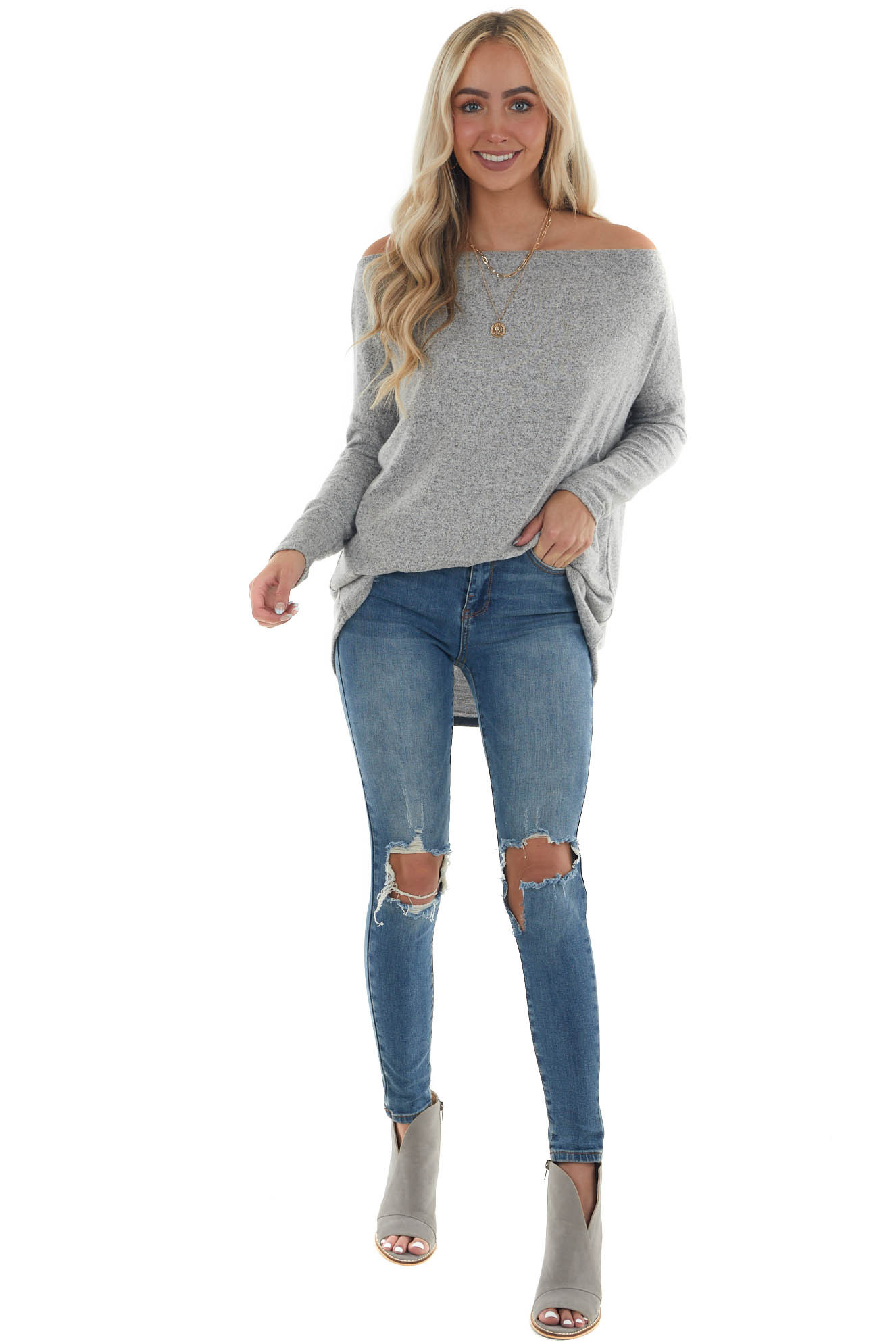 Dove Grey Two Tone Off the Shoulder Long Sleeve Knit Top
