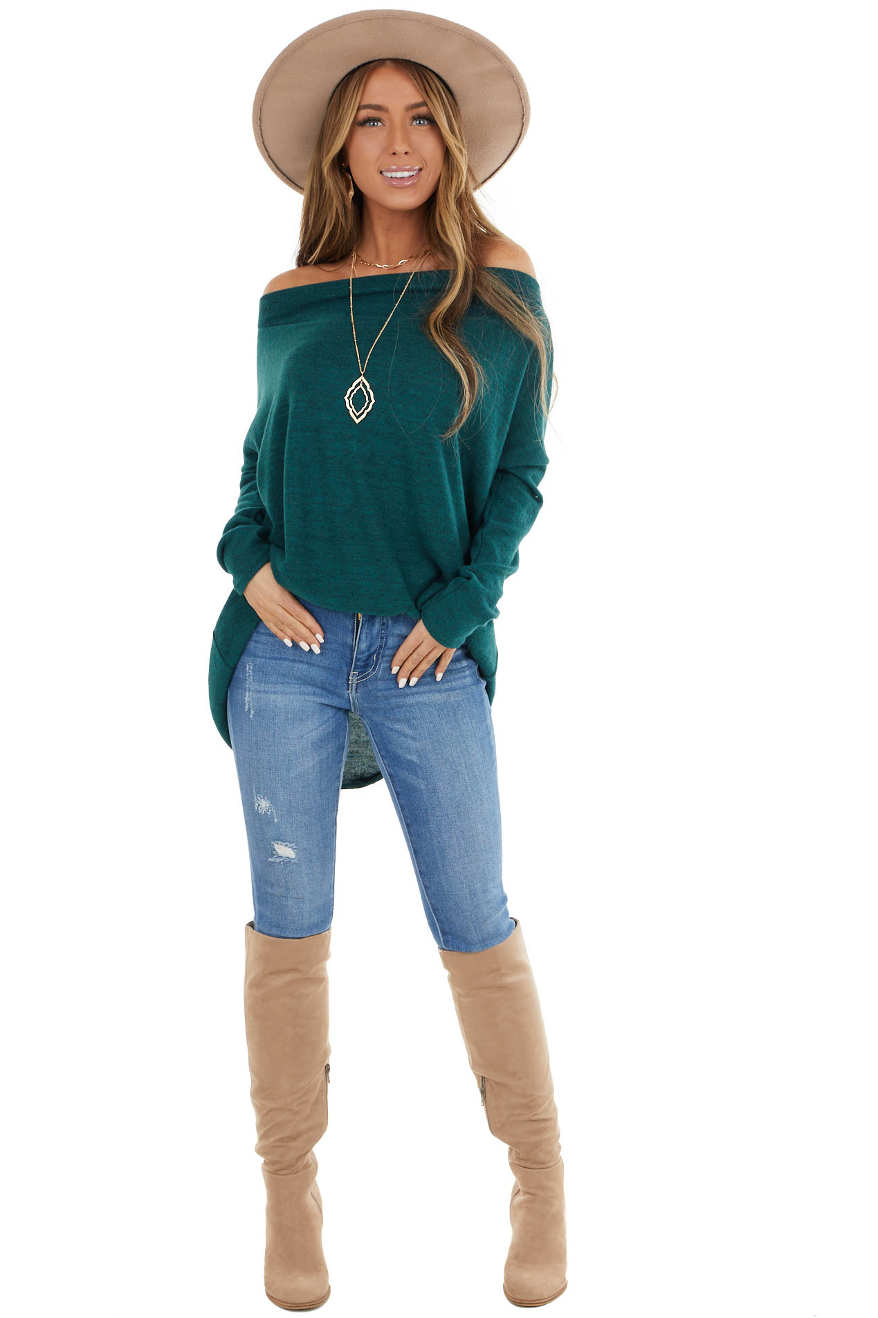 Pine Green Two Tone Off the Shoulder Long Sleeve Knit Top