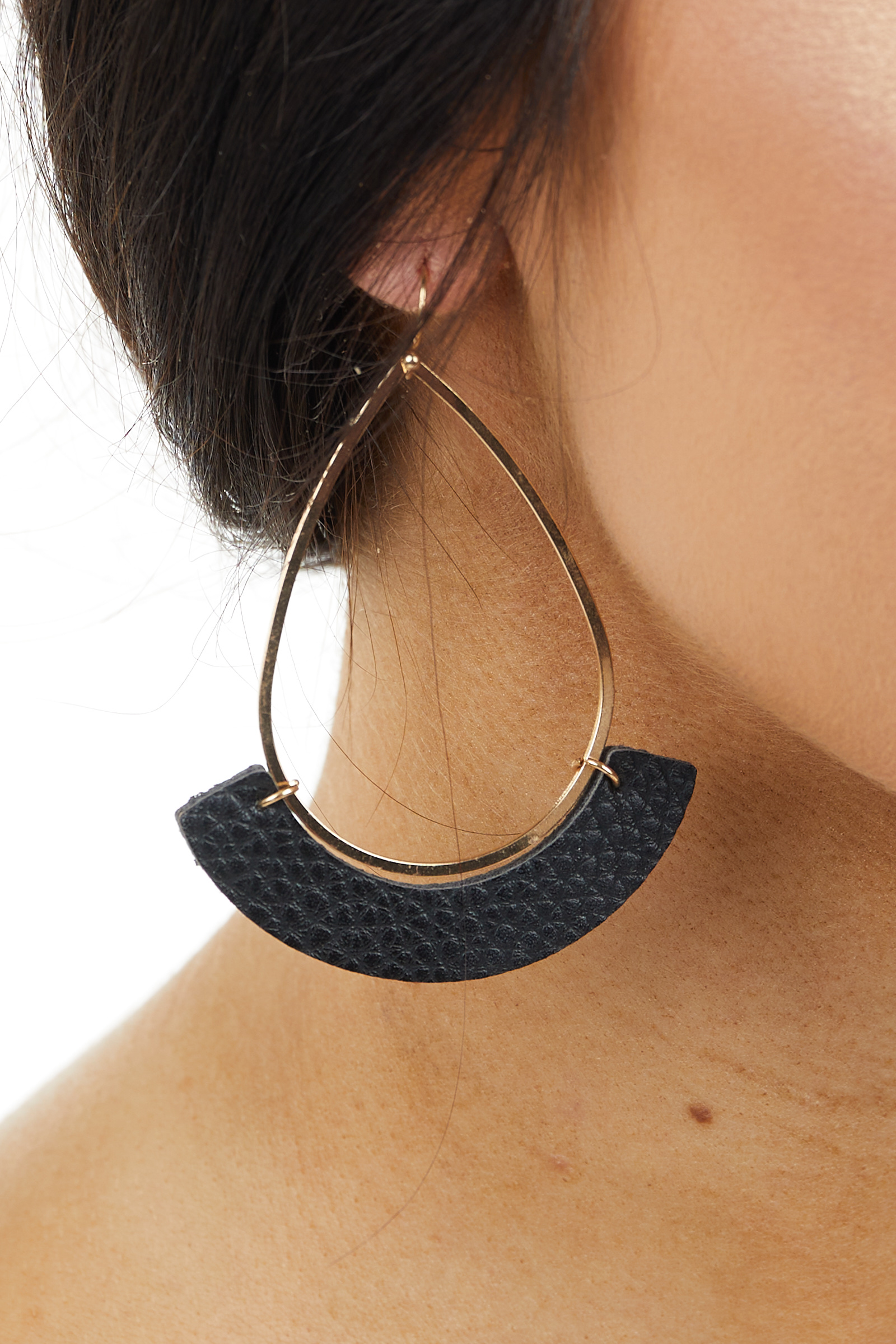 Gold Teardrop Earring with Black Faux Leather Crescent