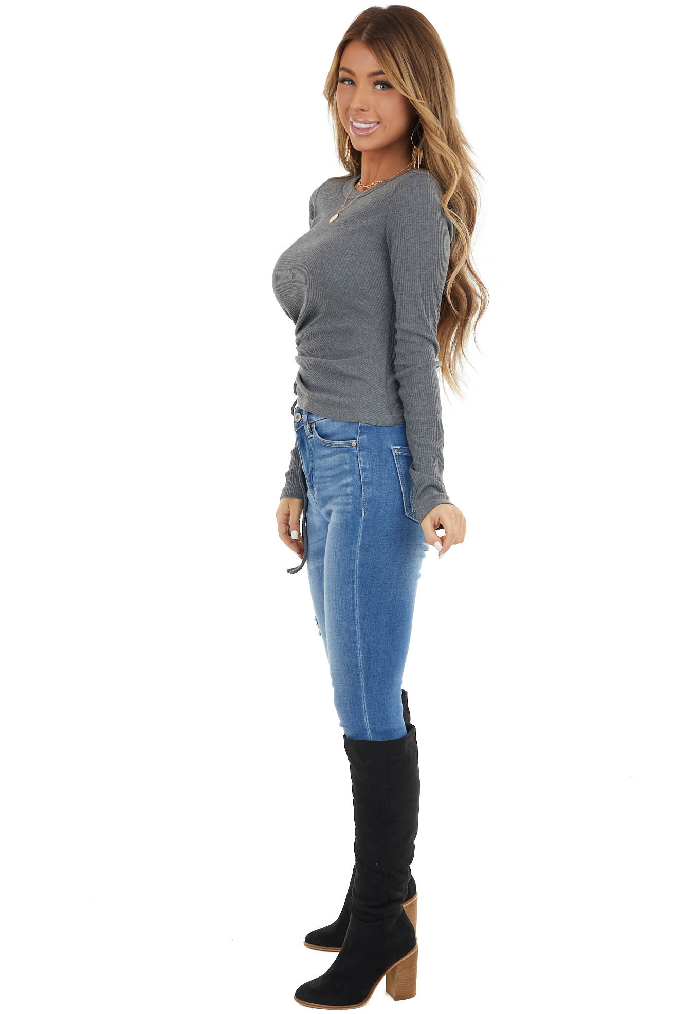 Charcoal Ribbed Knit Long Sleeve Top with Side Ruching