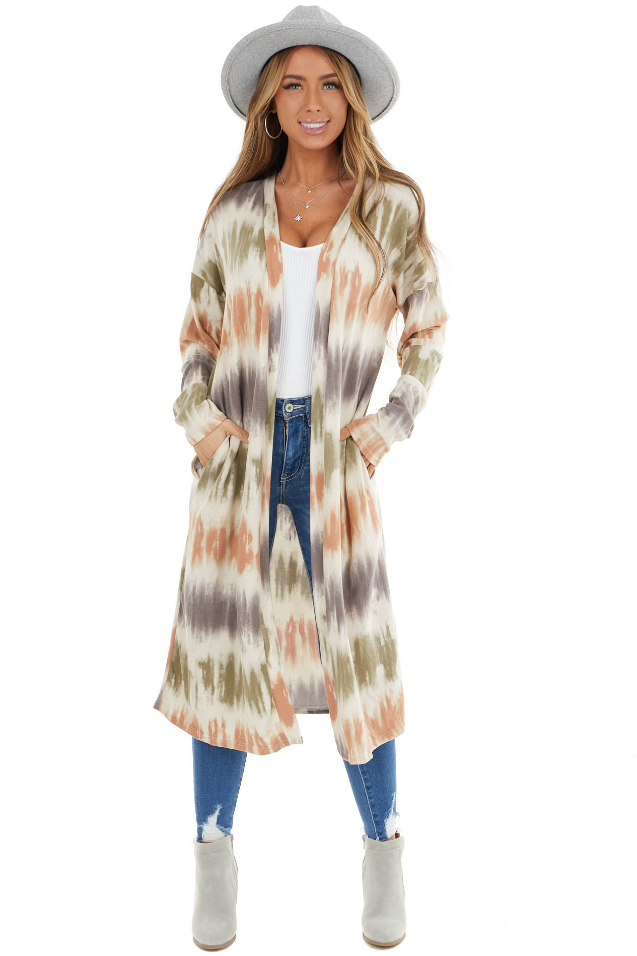 Cream Long Sleeve Cardigan with Pockets and Tie Dye Stripes