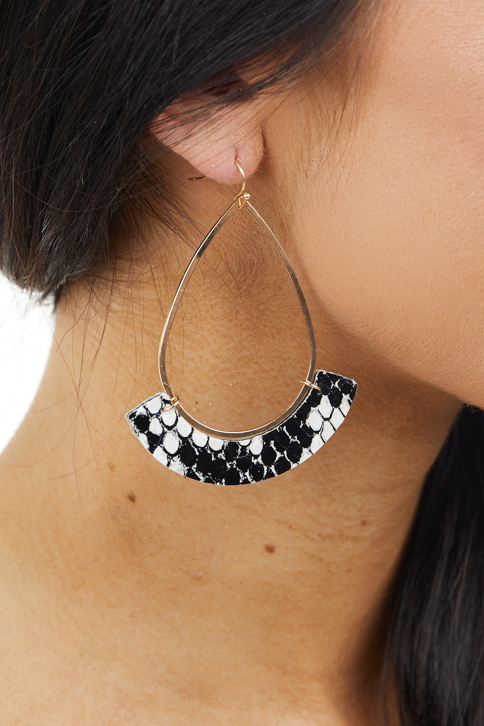 Gold Teardrop Earring with Snake Print Crescent Dangle