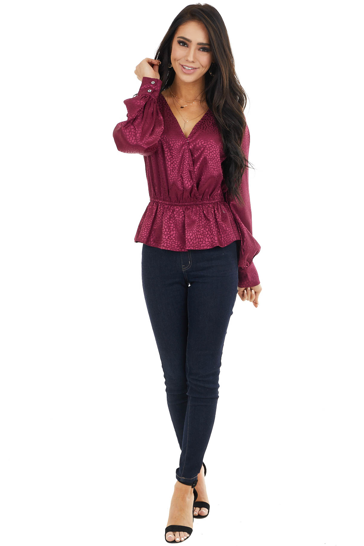 Wine Cheetah Print Surplice Long Sleeve Peplum Blouse