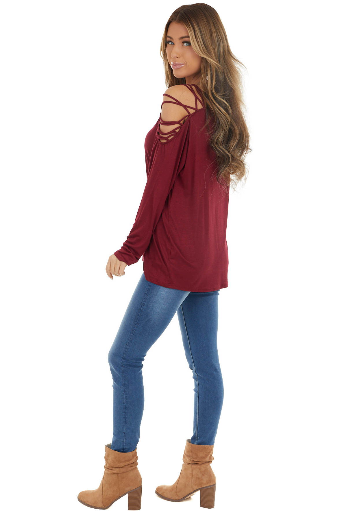 Cherry Red Long Sleeve Knit Top with Ladder Detail