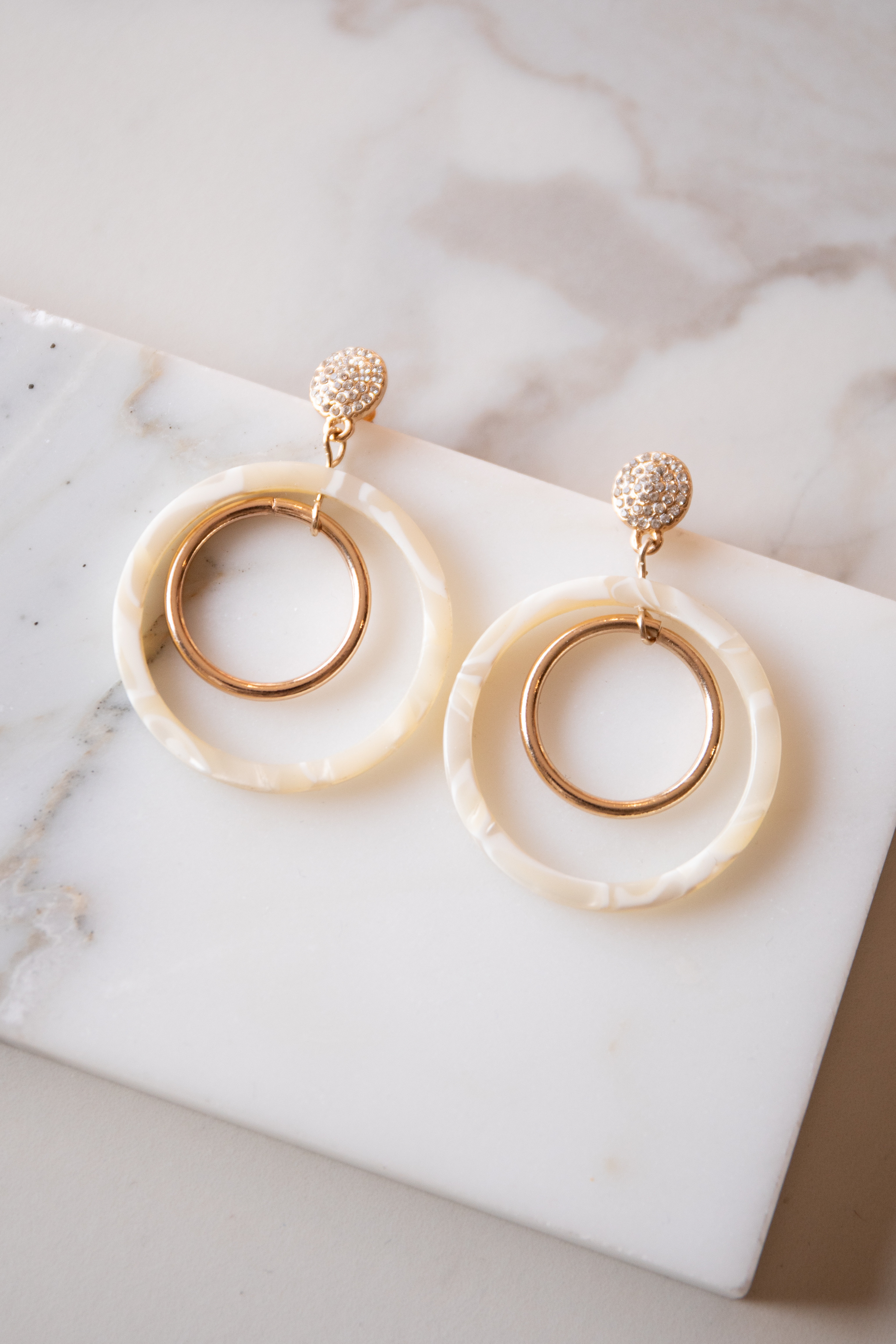 Gold and Cream Pearlescent Double Hoop Dangle Earrings