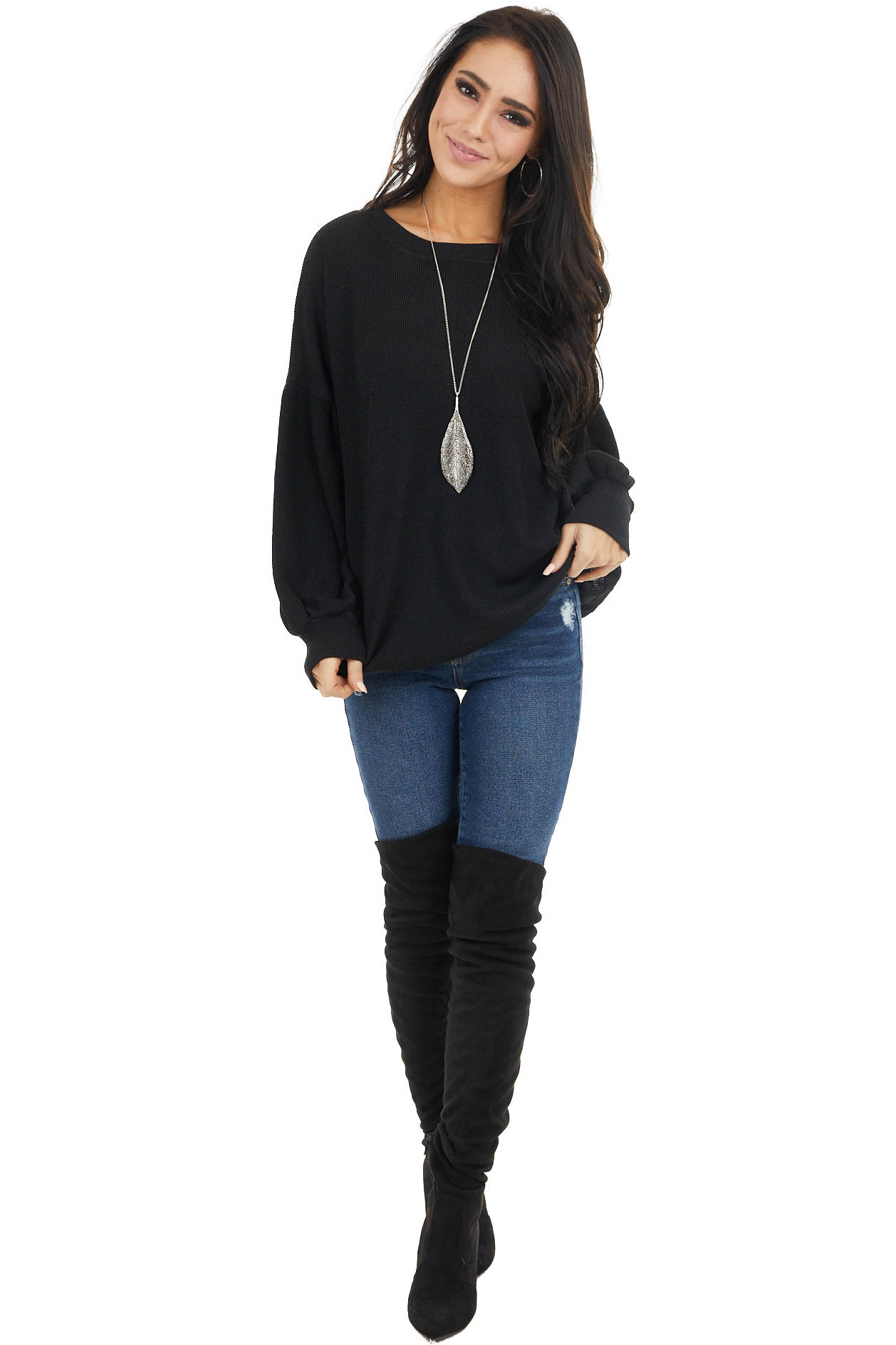 Black Stretchy Ribbed Knit Top with Long Bubble Sleeves
