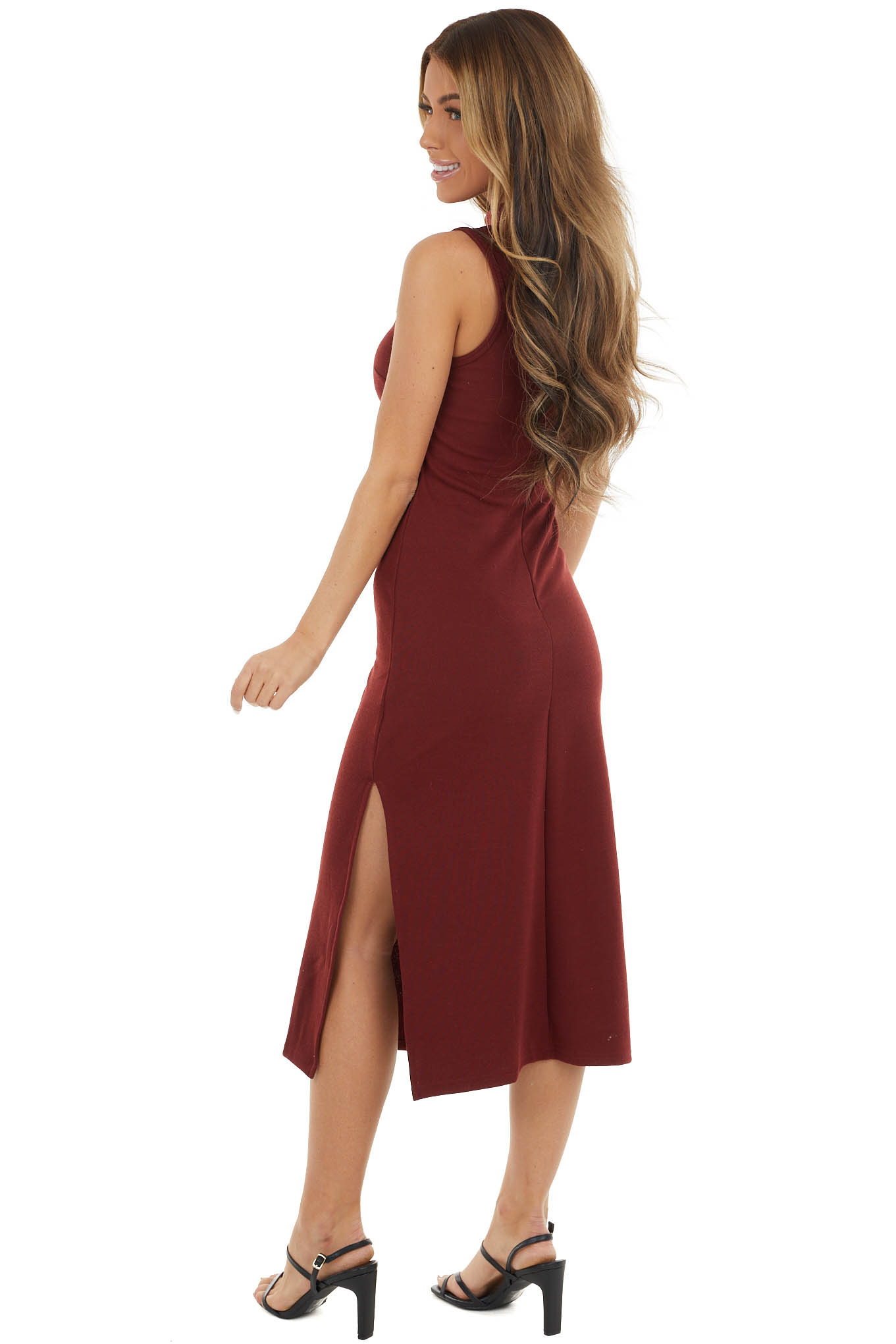 Mahogany Sleeveless Midi Dress with Side Slits and Mock Neck