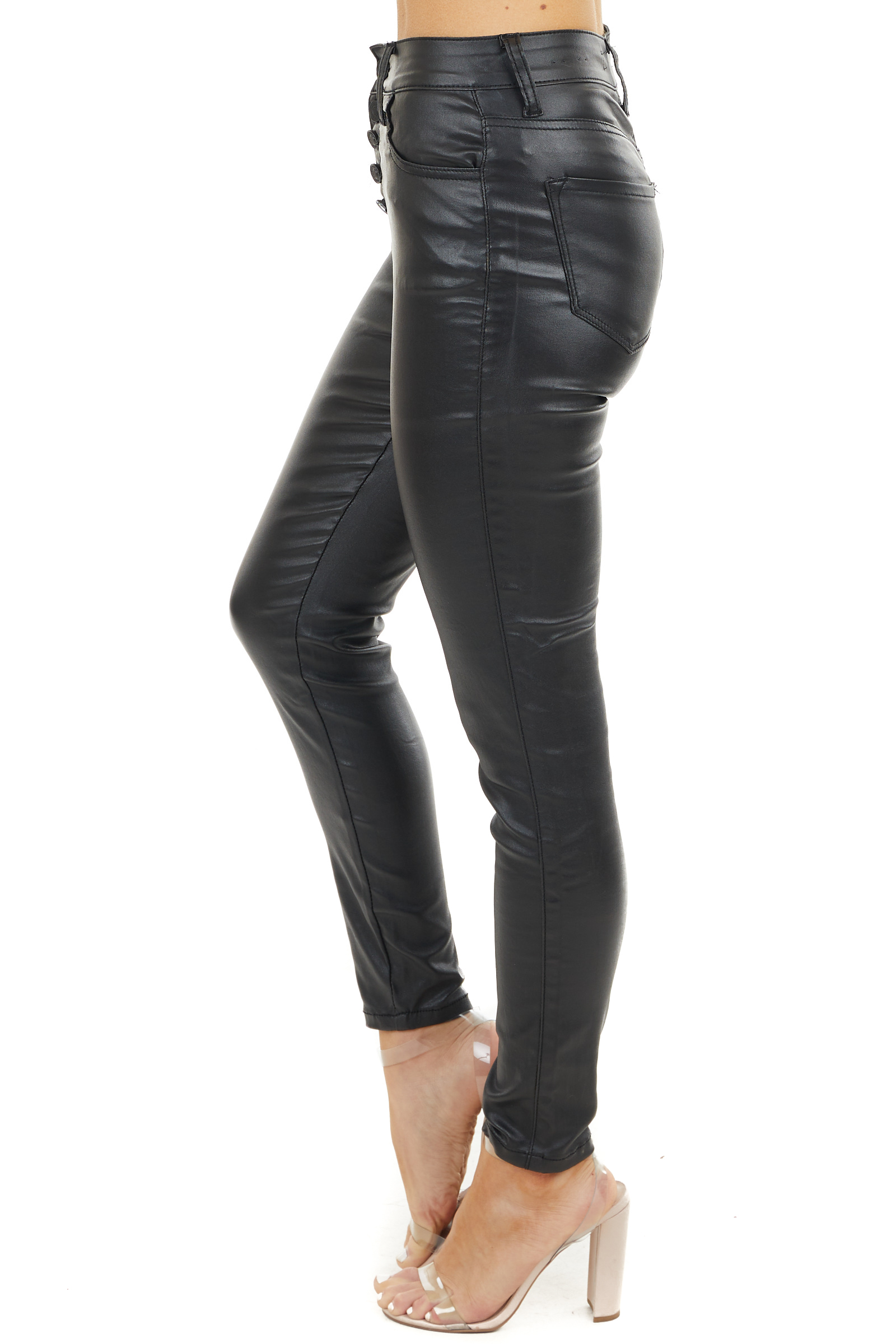 Black Faux Leather High Rise Jeans with Button Closure