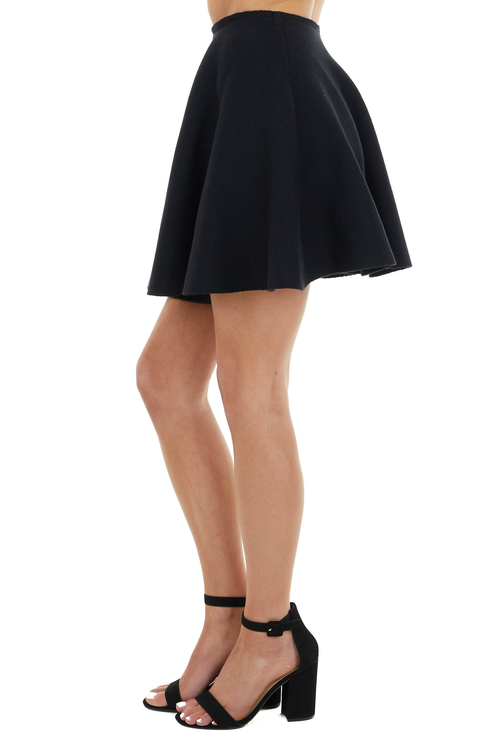 Black Knit Sweater Flare Mini Skirt with Elastic Waist
