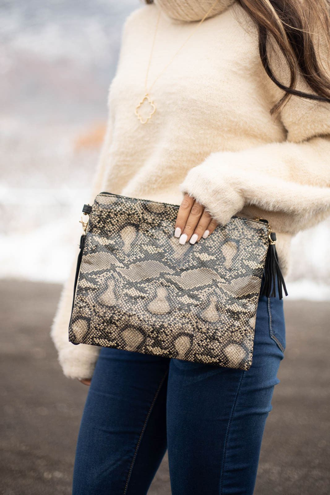 Cream and Black Snake Print Clutch with Detachable Strap
