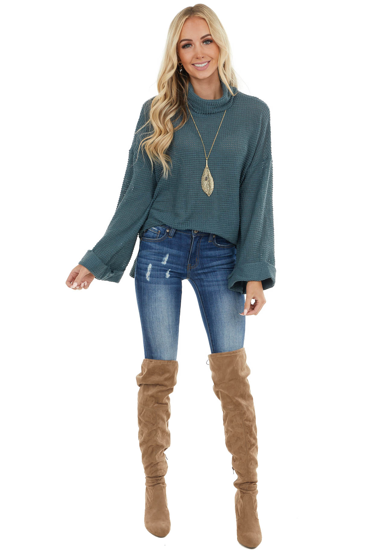 Dusty Teal Waffle Knit Cowl Neck Top with Side Slit Detail
