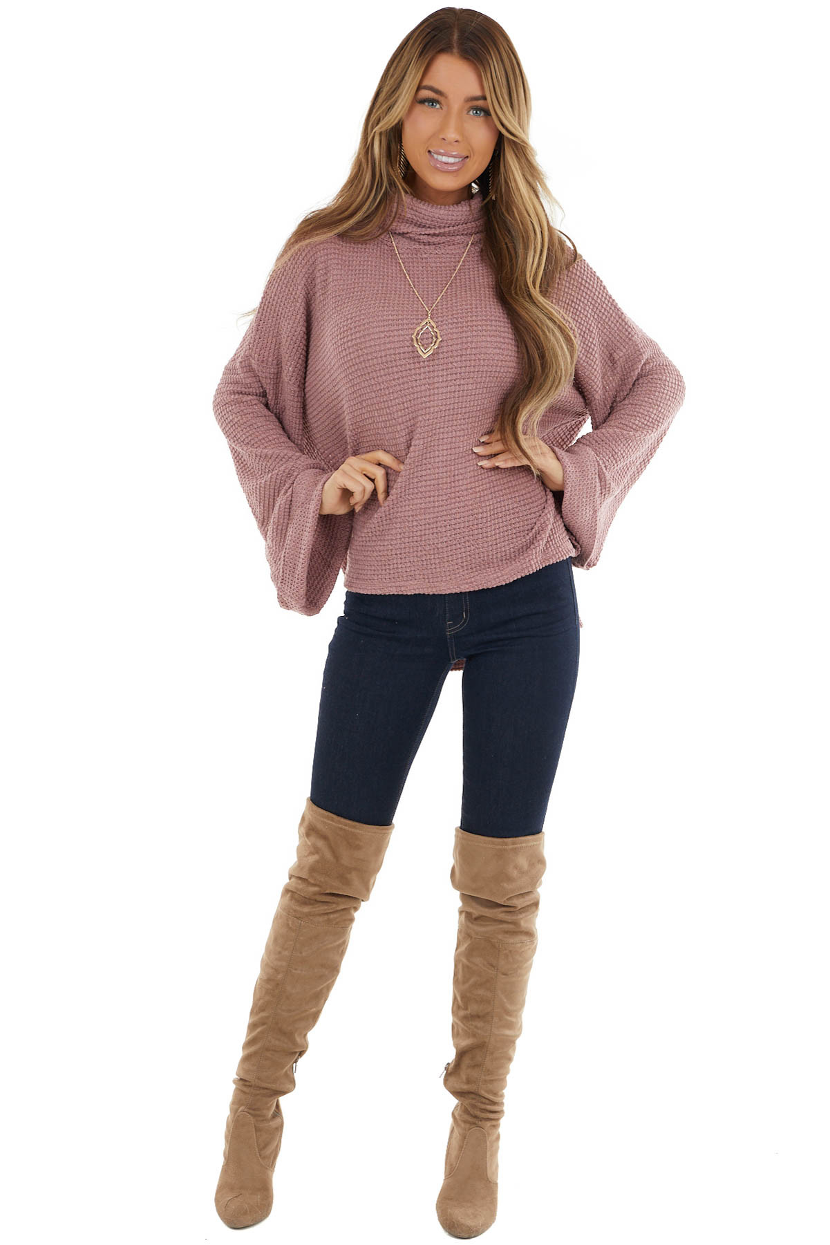 Mauve Waffle Knit Cowl Neck Top with Side Slit Detail
