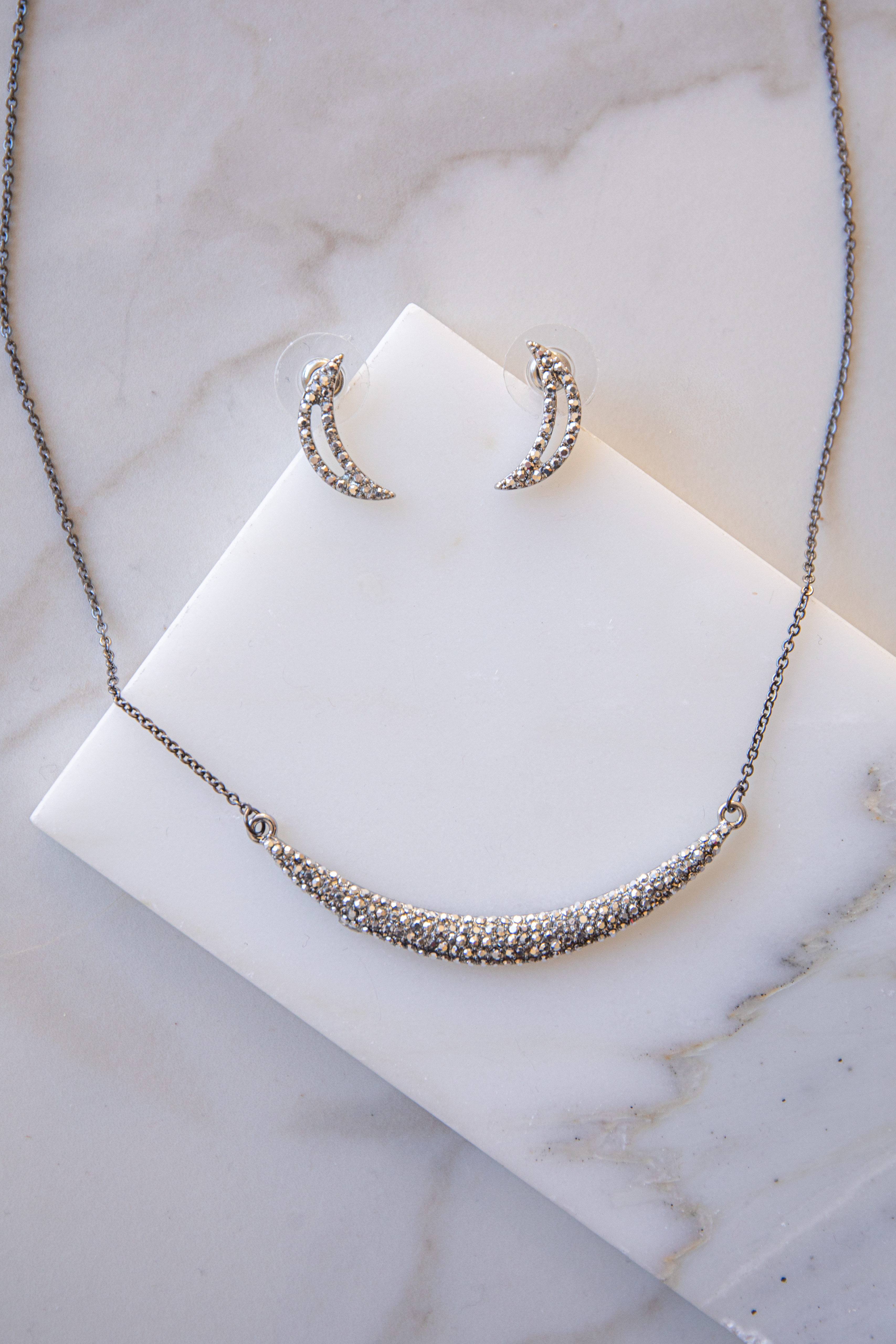 Silver Necklace with Rhinestone Pendant and Earrings Set