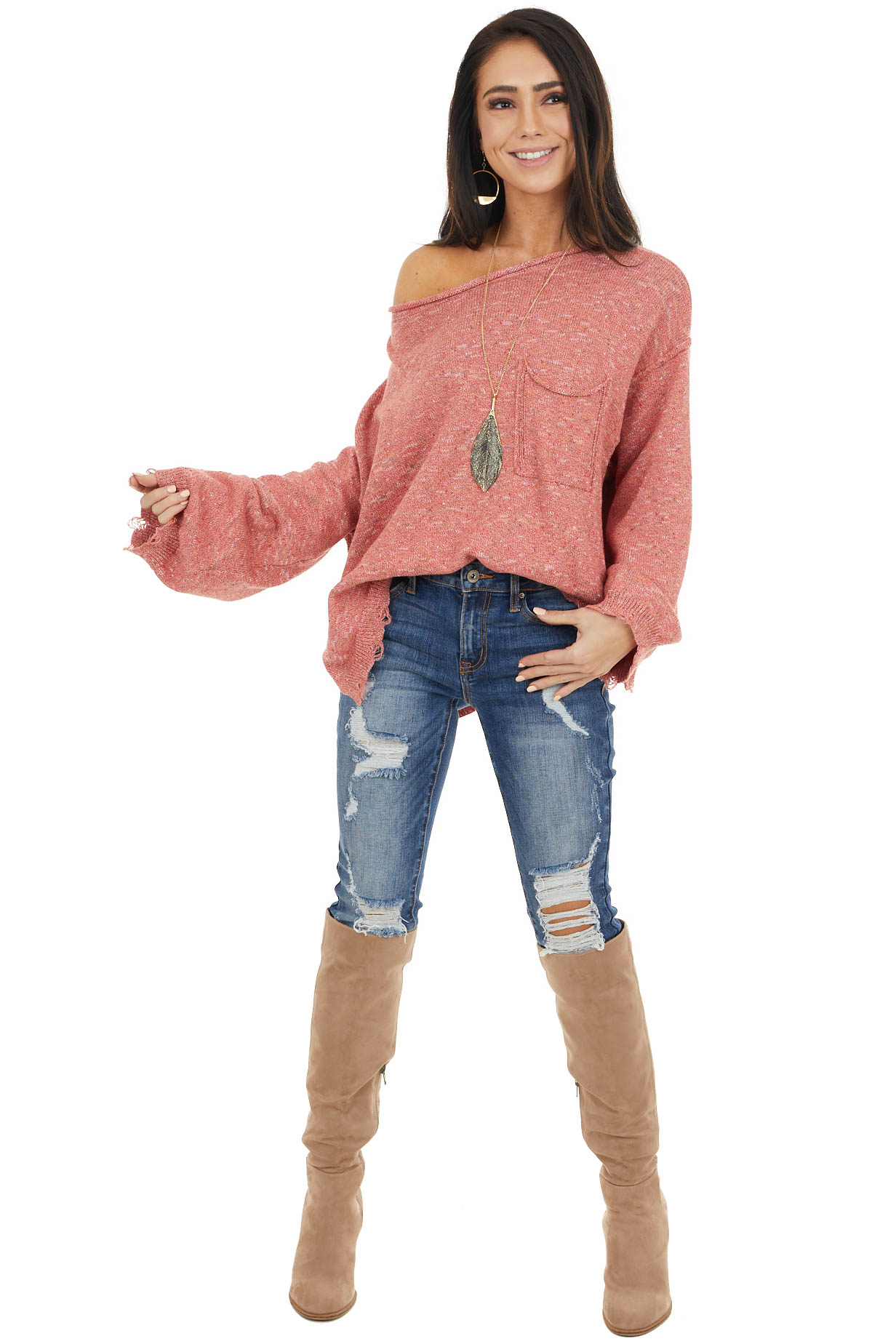 Faded Red Multicolor Long Sleeve Distressed Sweater