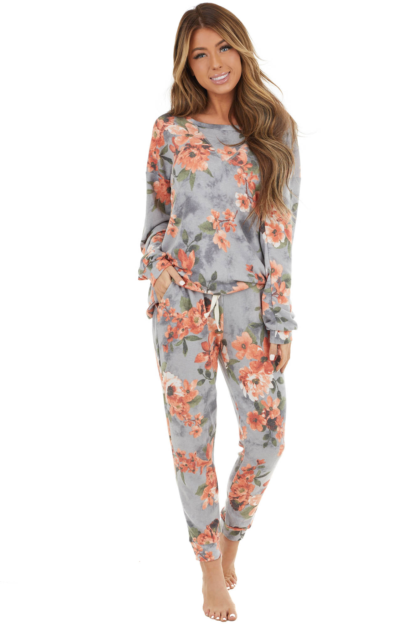 Stone Grey Floral Print Long Sleeve Top and Pants Set