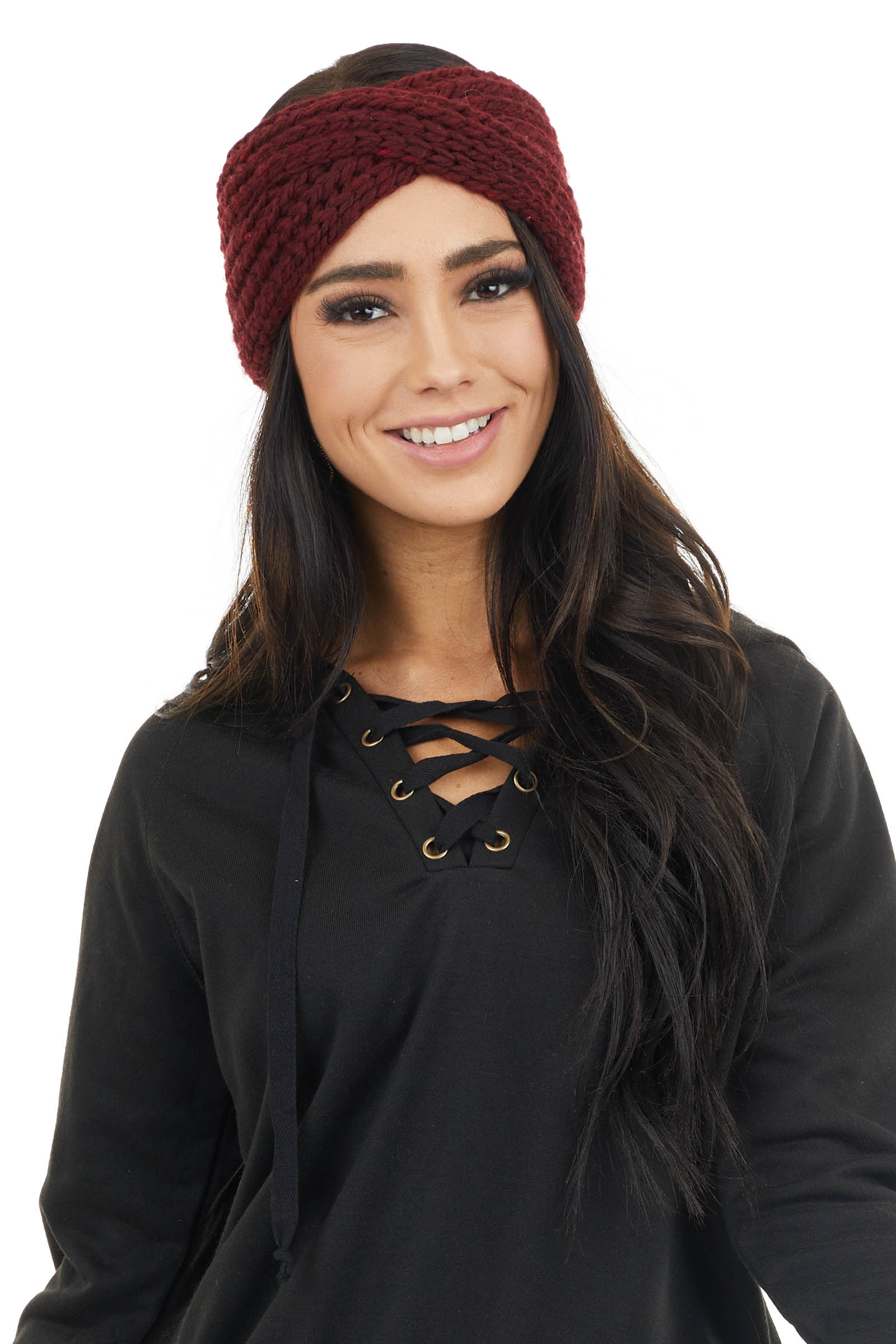 Burgundy Crochet Knit Headband with Front Criss Cross Detail