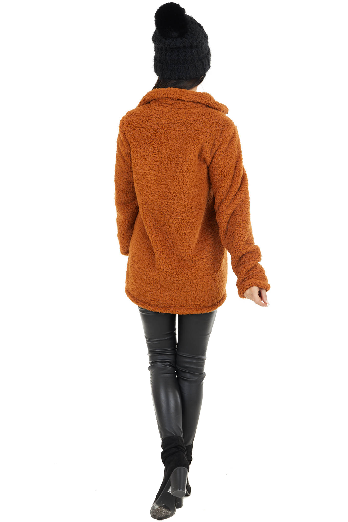 Caramel Zip Up High Neckline Sherpa Jacket with Pockets