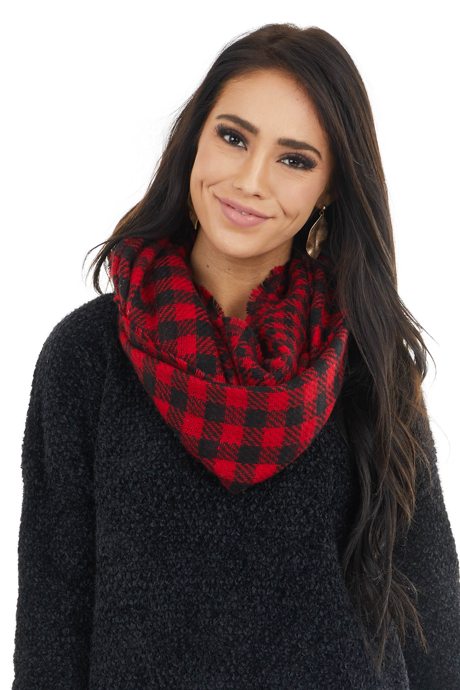 Lipstick Red and Black Buffalo Plaid Infinity Scarf