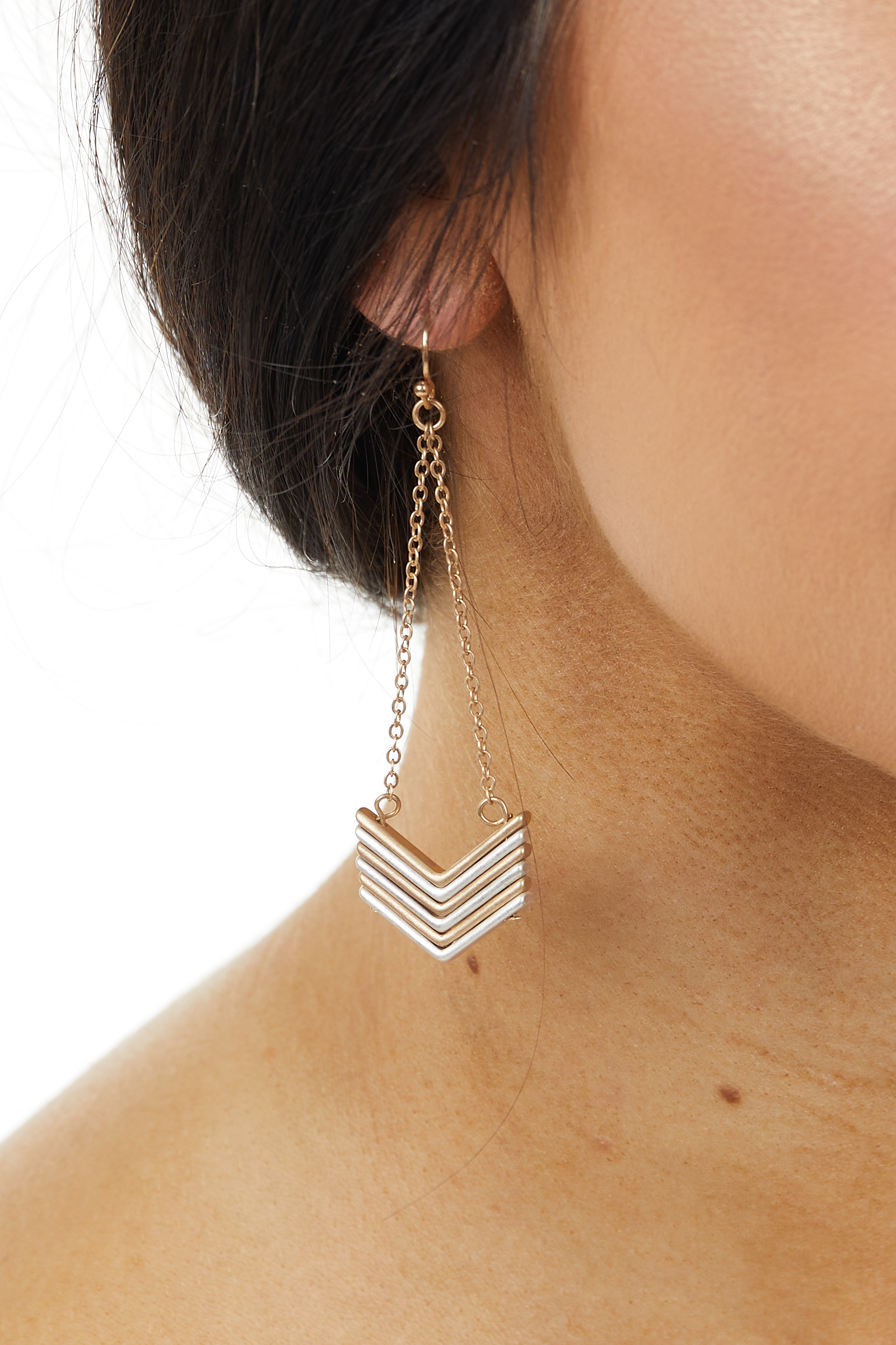 Brushed Gold and Silver Stacked Chevron Dangle Earrings