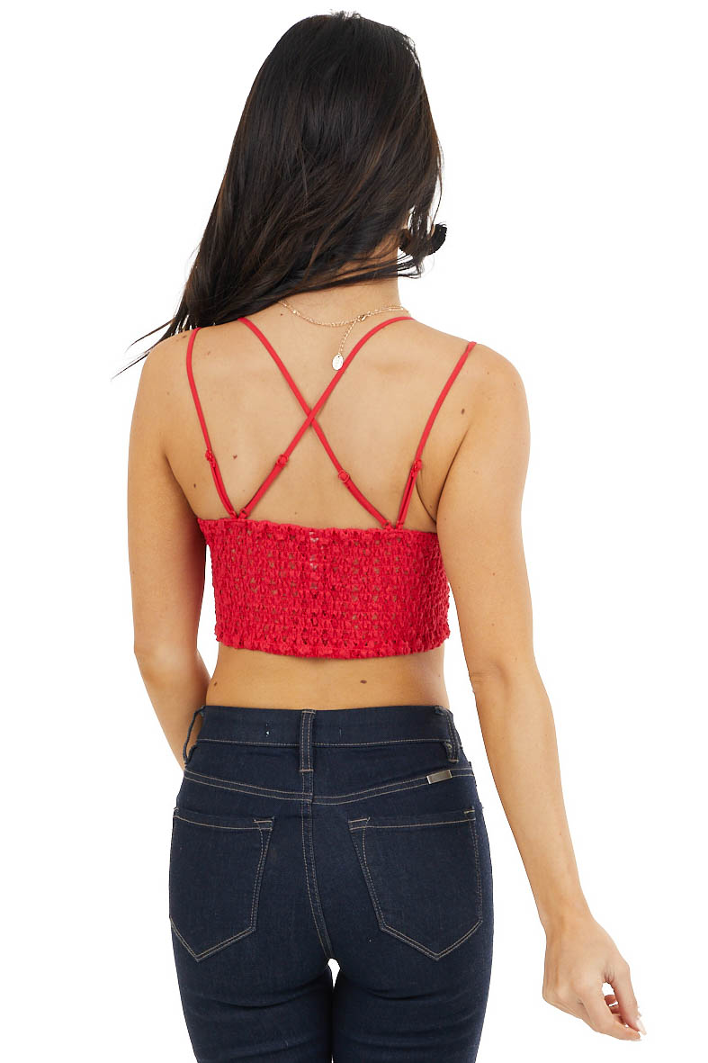 Ruby Red Padded Lace Bralette with Criss Cross Straps