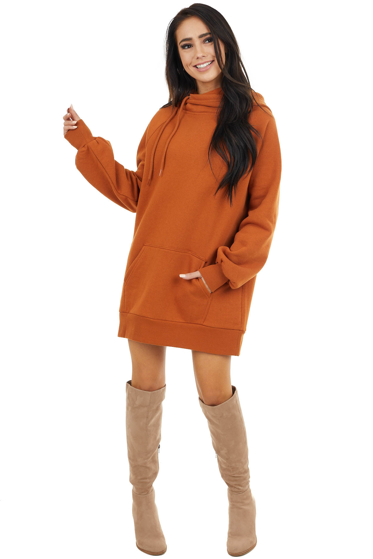 Caramel Sweatshirt Dress with Side Drawstring Hood and Pouch