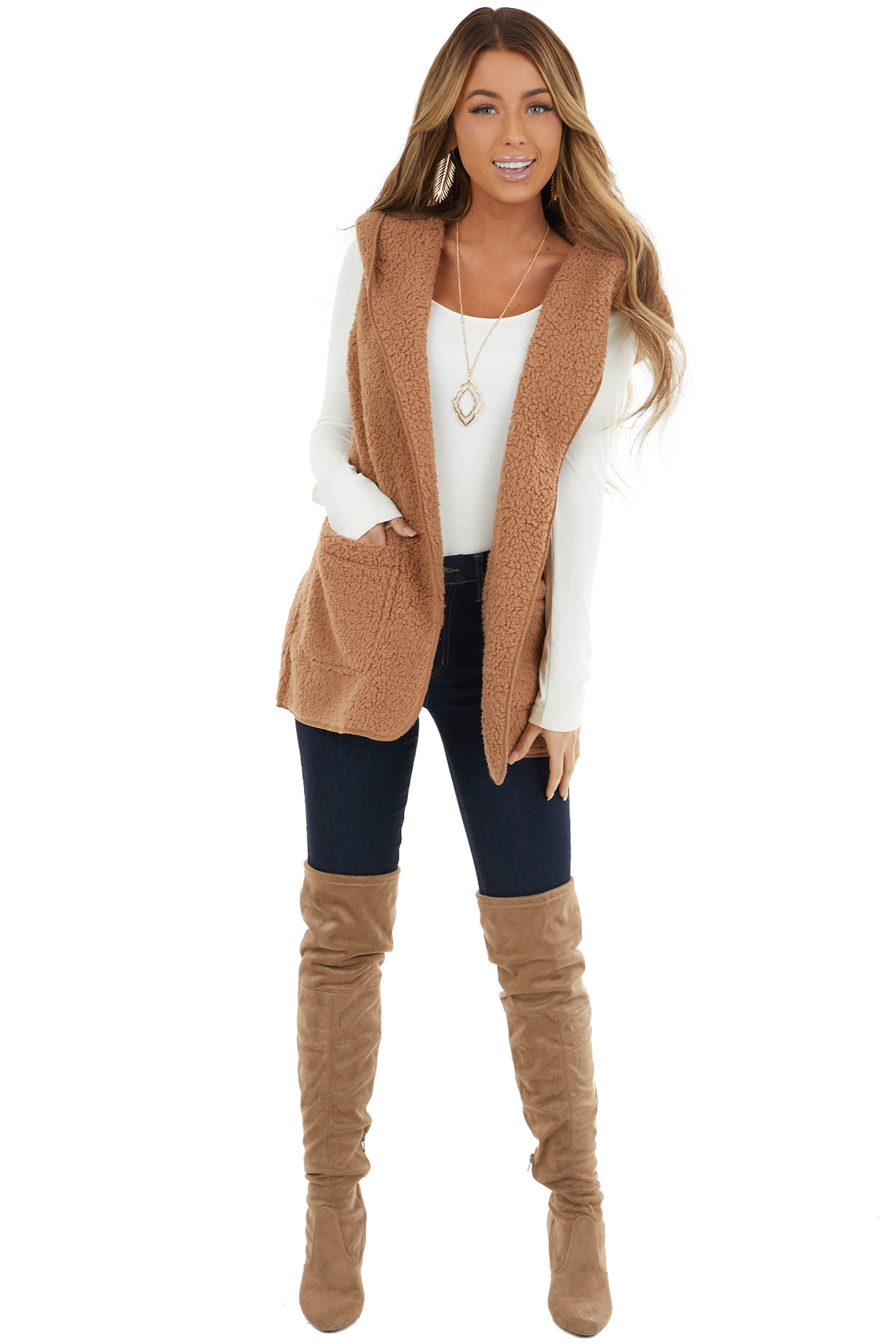 Camel Soft Sherpa Hooded Open Front Vest with Pockets