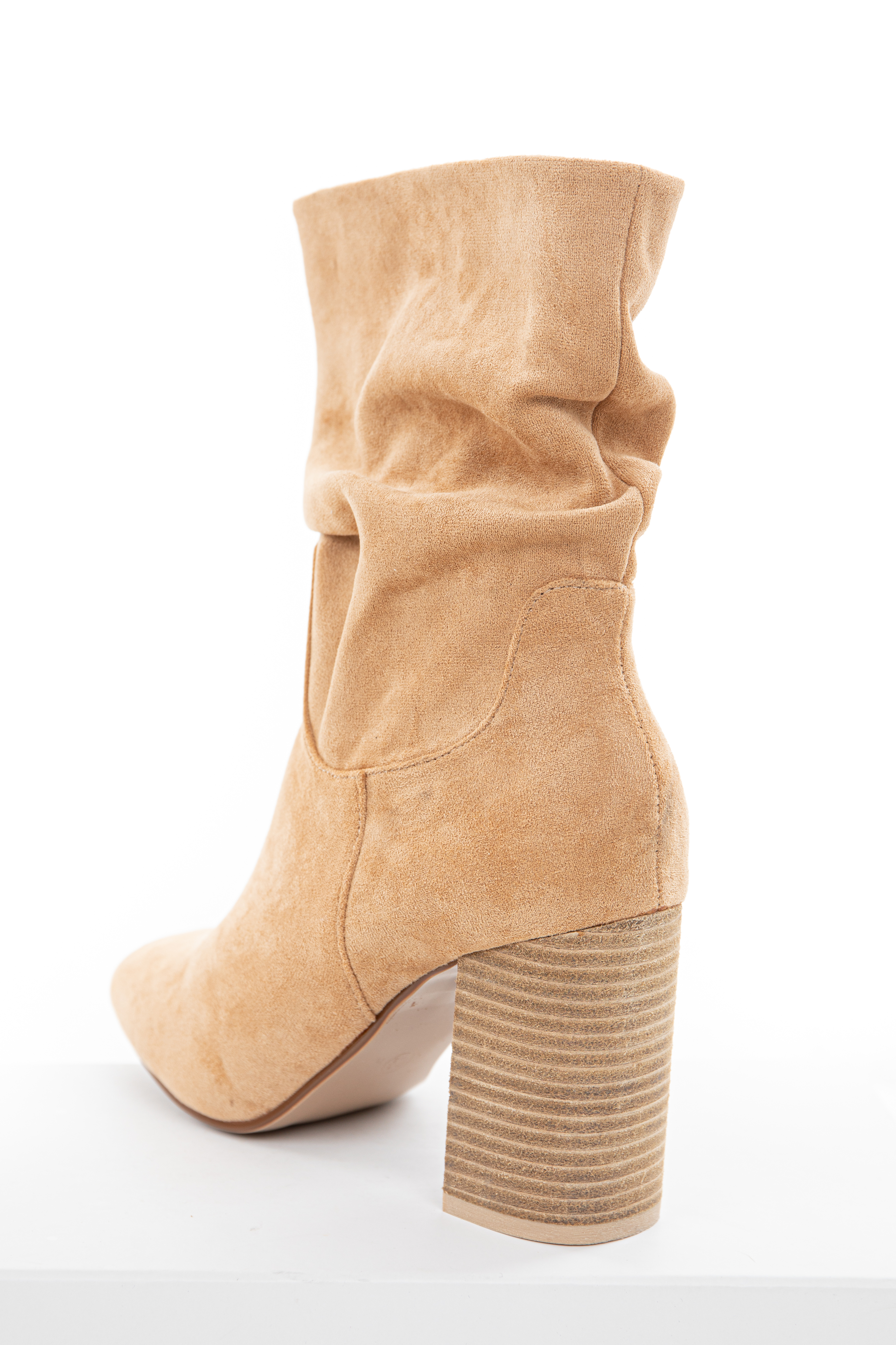Toffee High Heeled Bootie with Scrunch Detail
