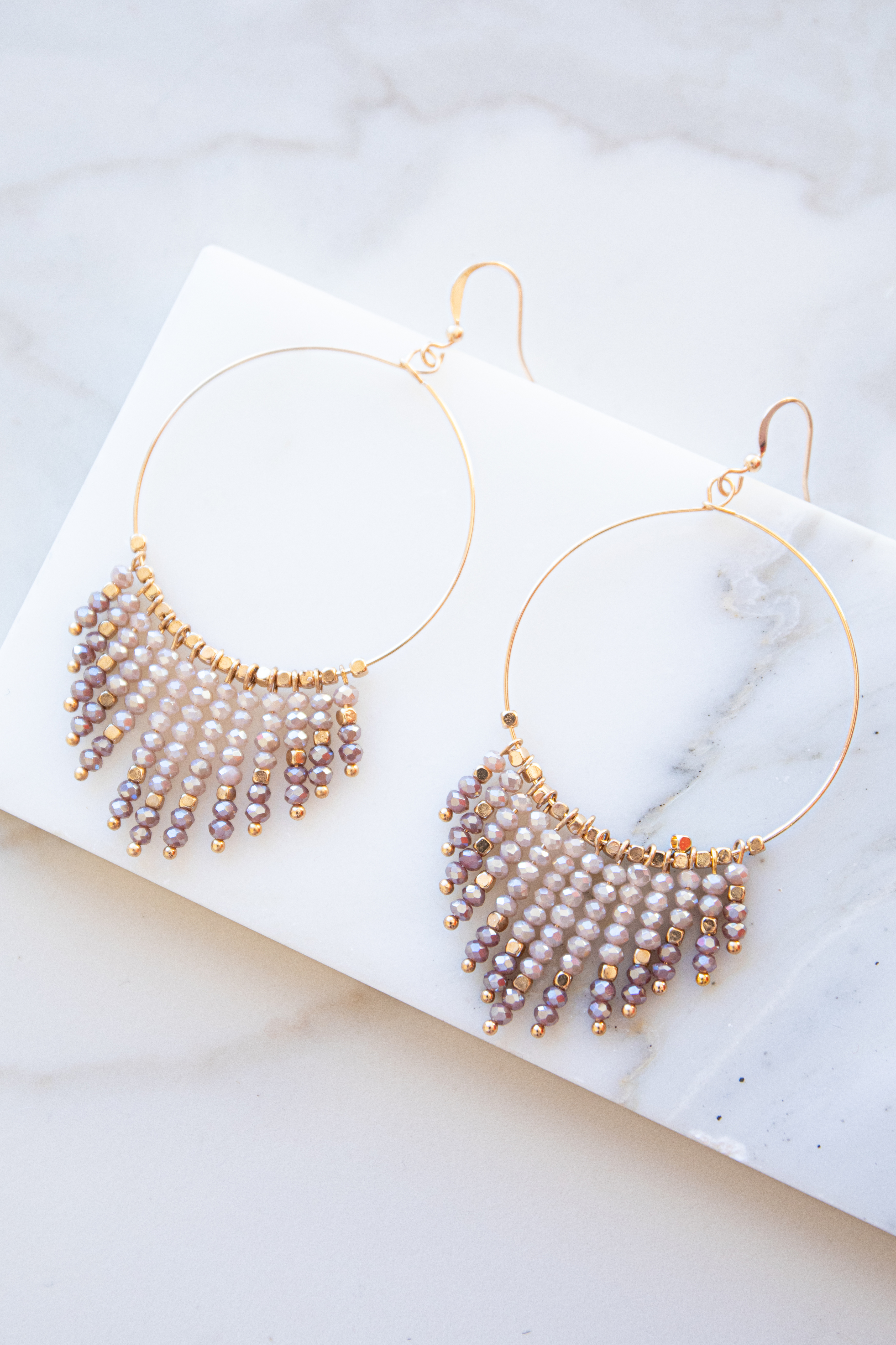 Gold Hoop Earrings with Rose and Mauve Bead Dangles