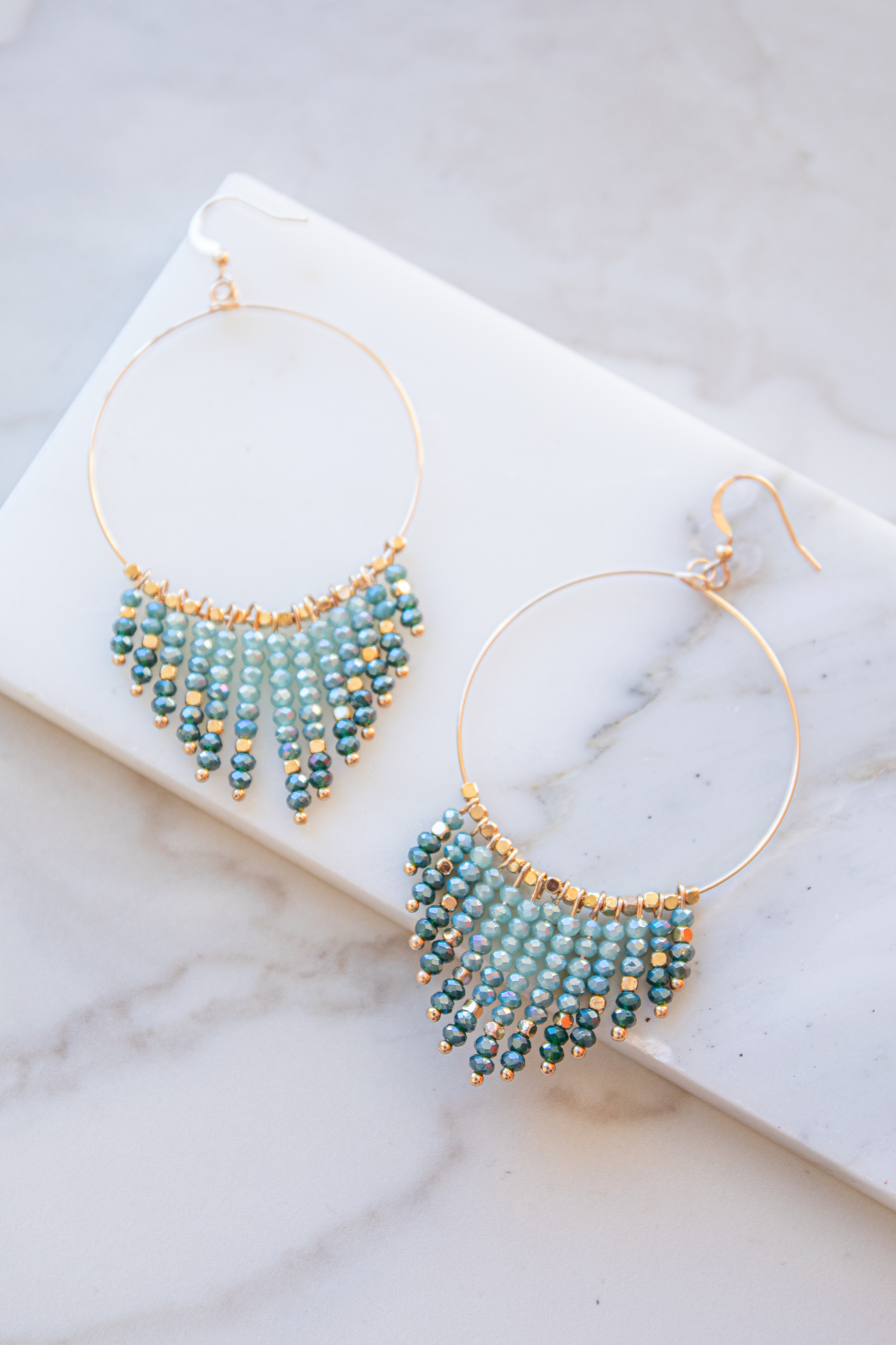 Gold Hoop Earrings with Teal and Pine Bead Dangles