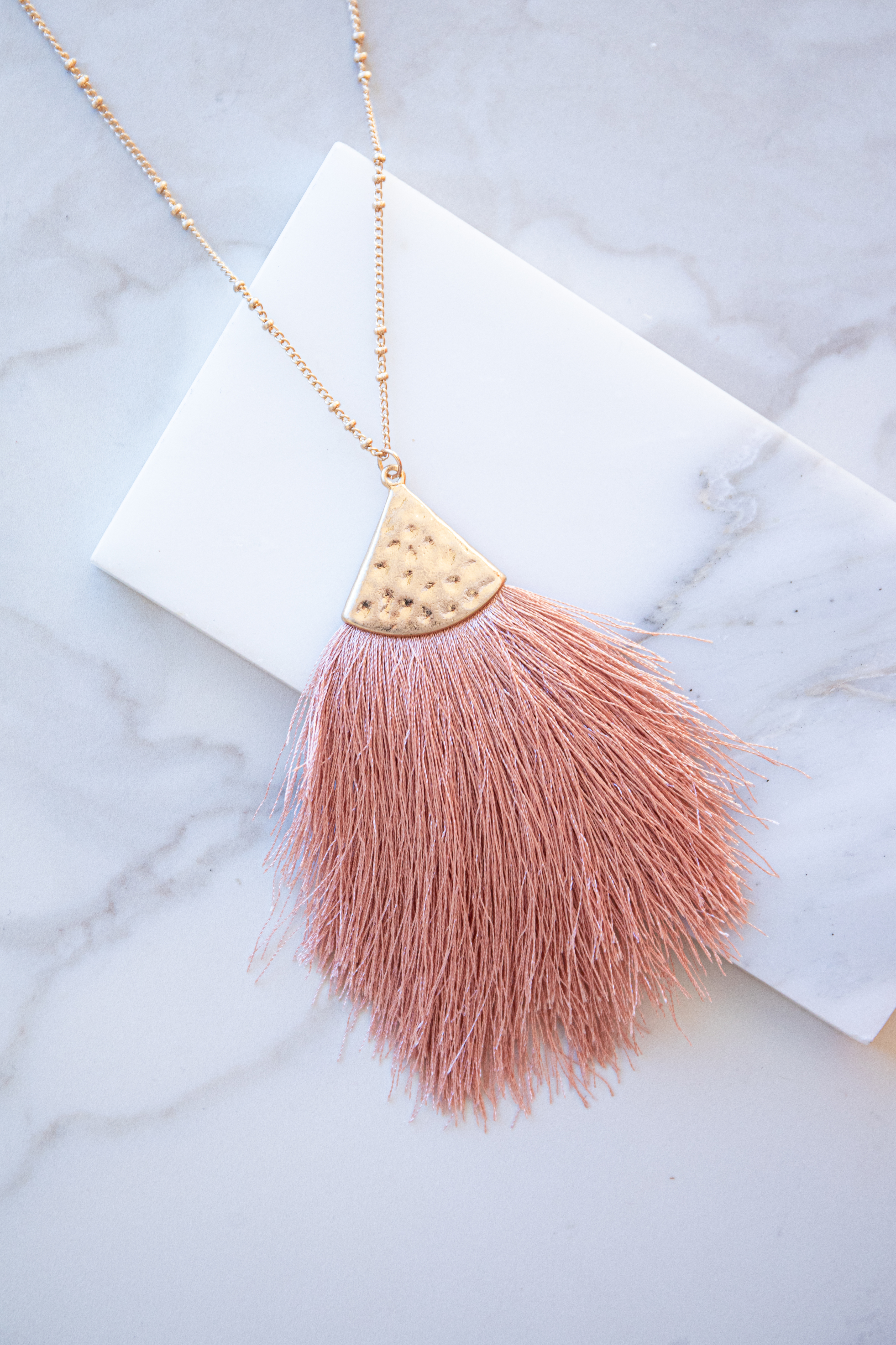 Gold Long Chain Necklace with Dusty Peach Fringe Detail