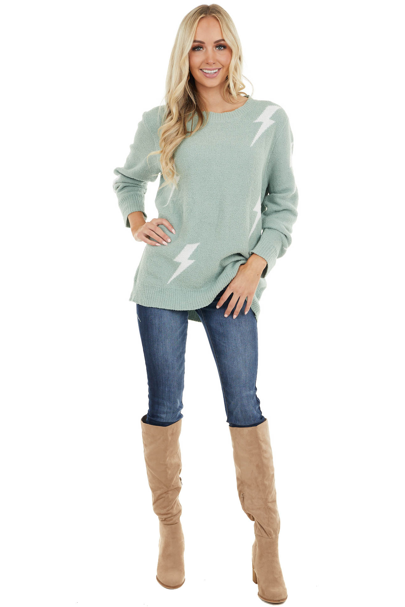 Sage Super Soft Knit Sweater with Lightning Bolt Print