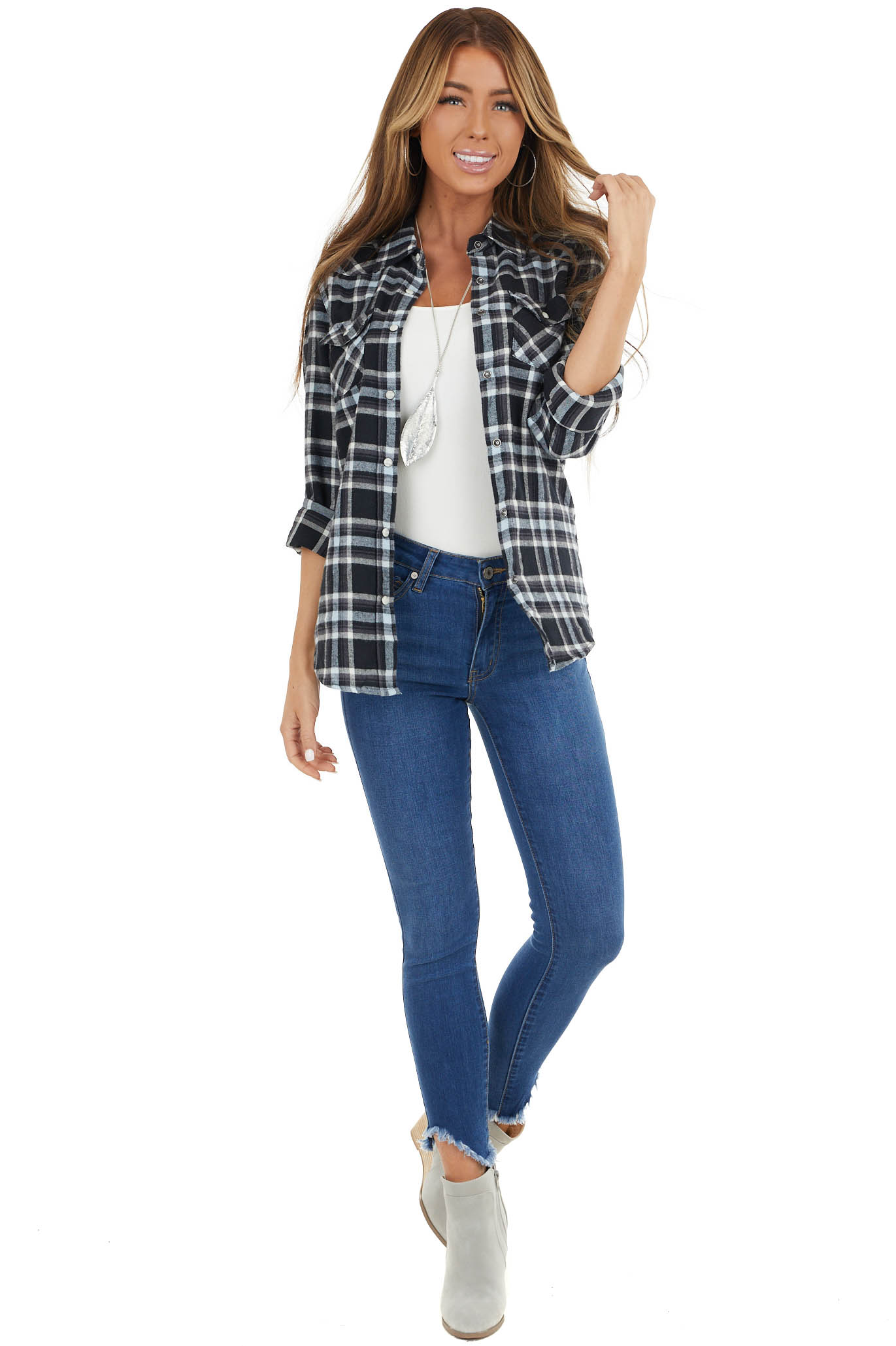 Black and Baby Blue Plaid Woven Top with Snap Button Closure