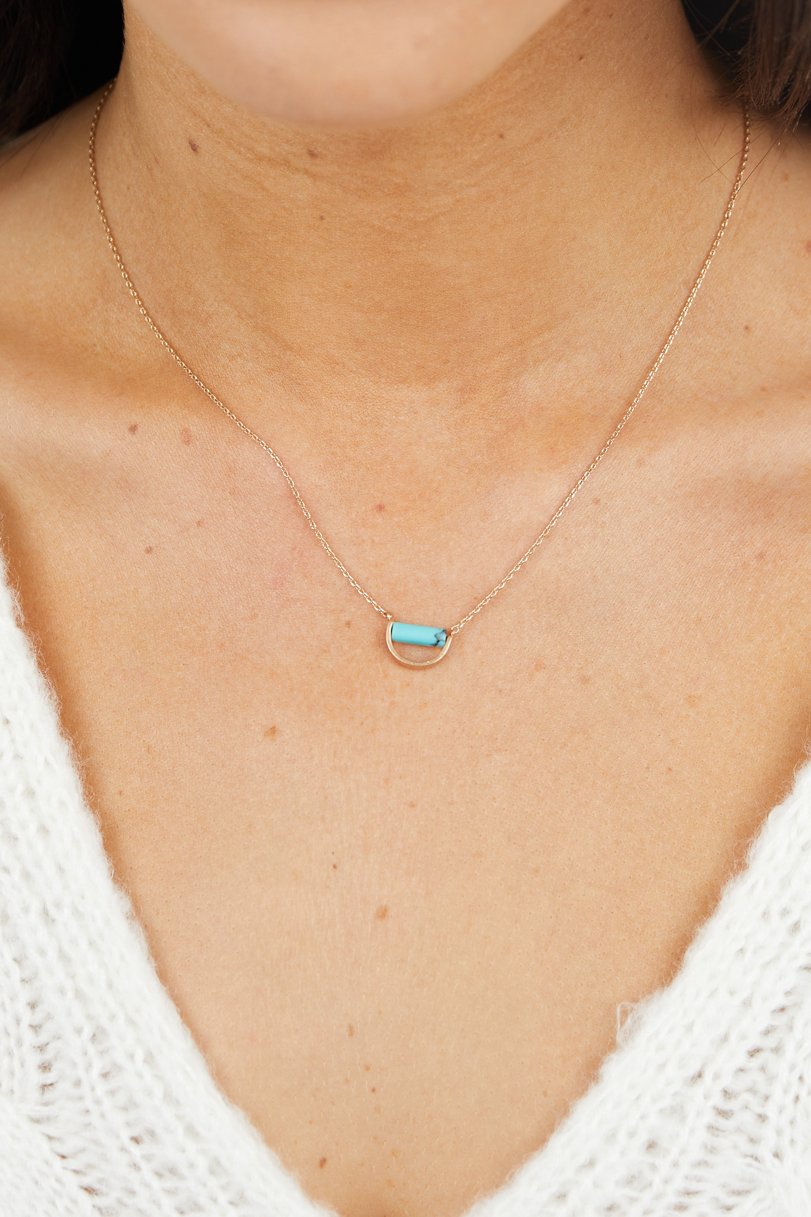 Gold Chain Necklace with Aqua Semicircle Pendant