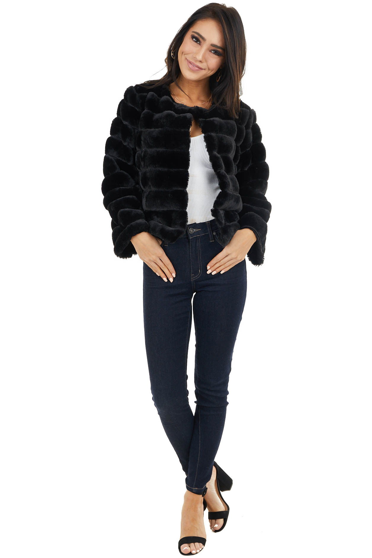 Black Faux Fur Open Front Jacket with Textured Stripes