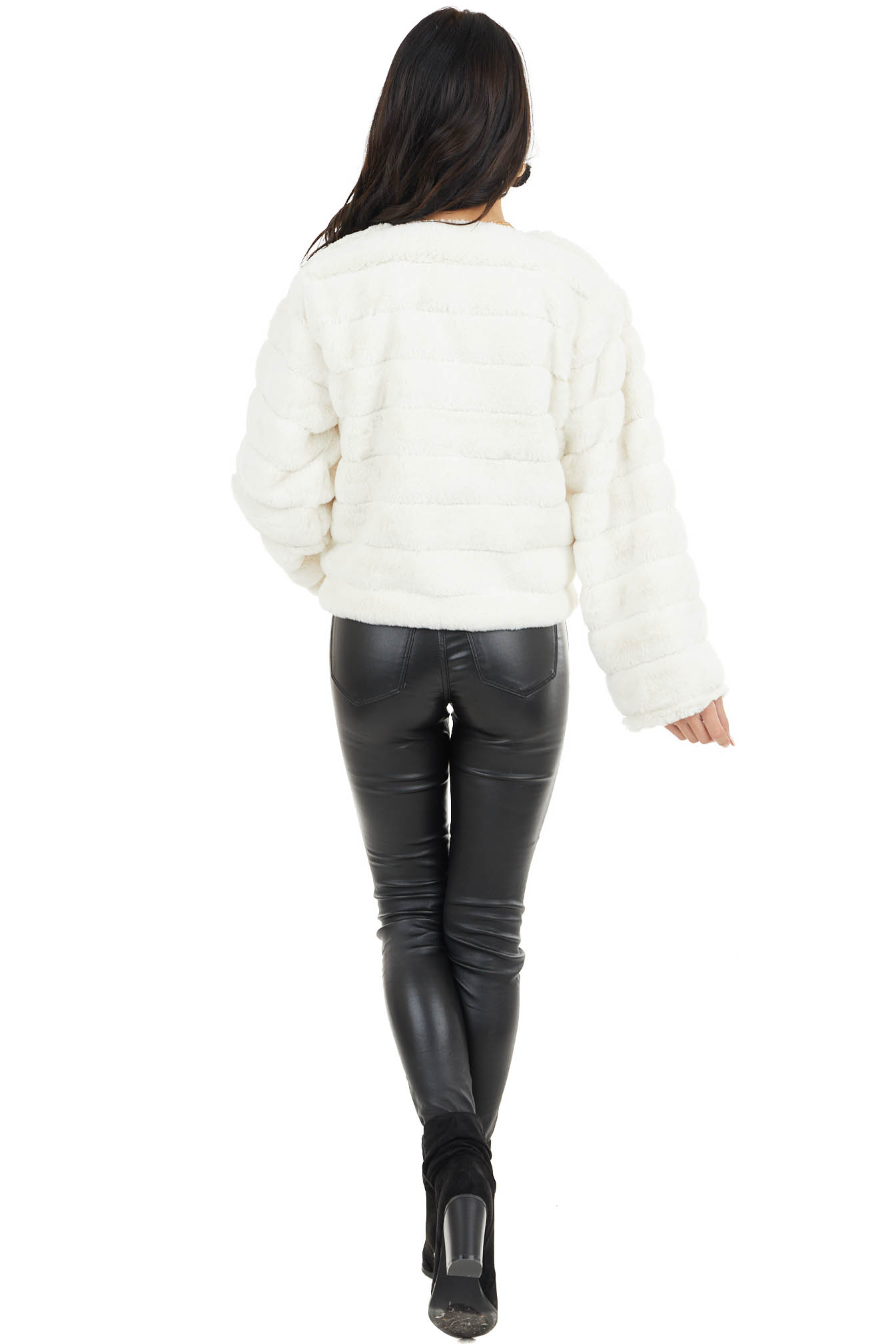 Ivory Faux Fur Open Front Jacket with Textured Stripes