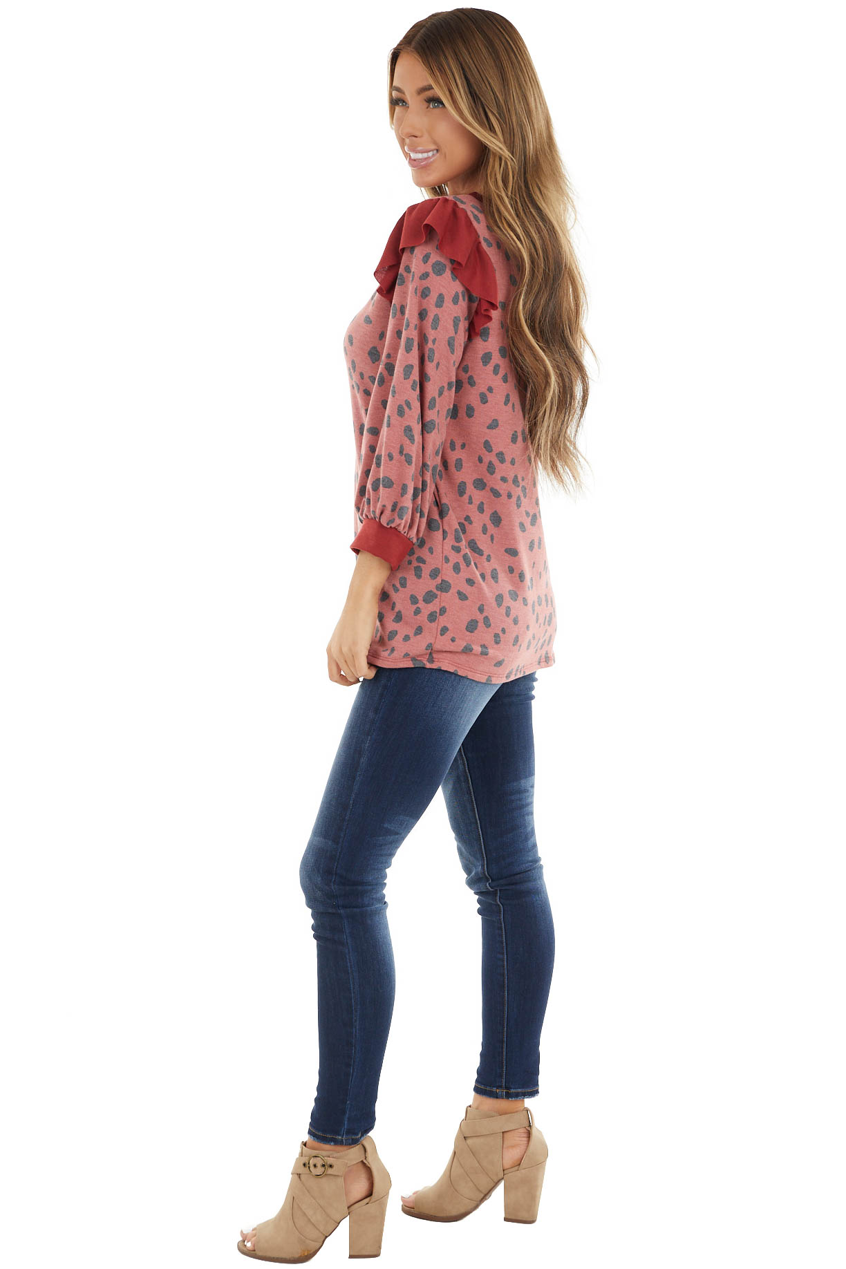 Cherry Cheetah Print Terry Knit Top with Ruffle Details