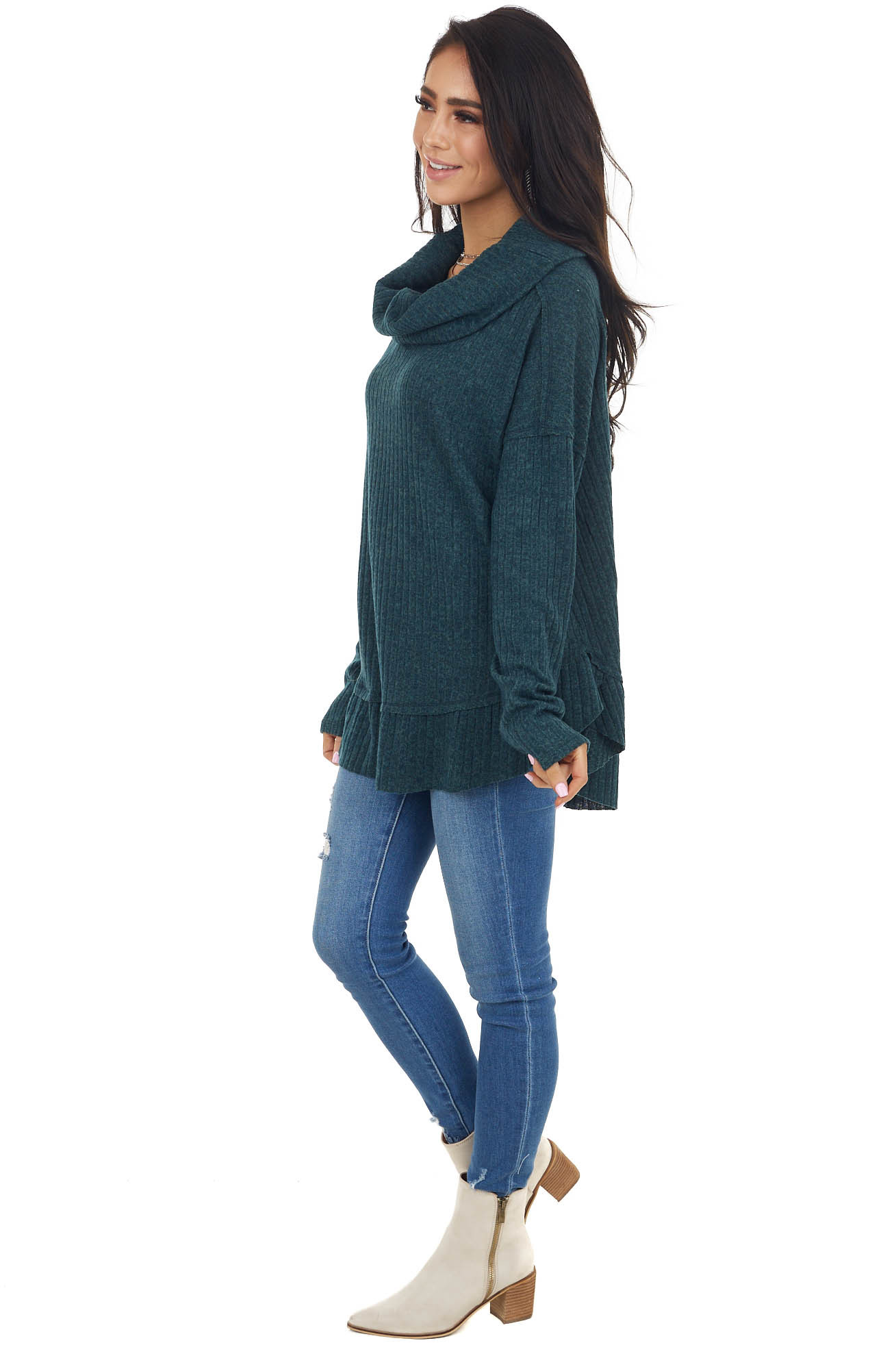 Pine Green Ribbed Cowl Neck Sweater with Raw Seam Details