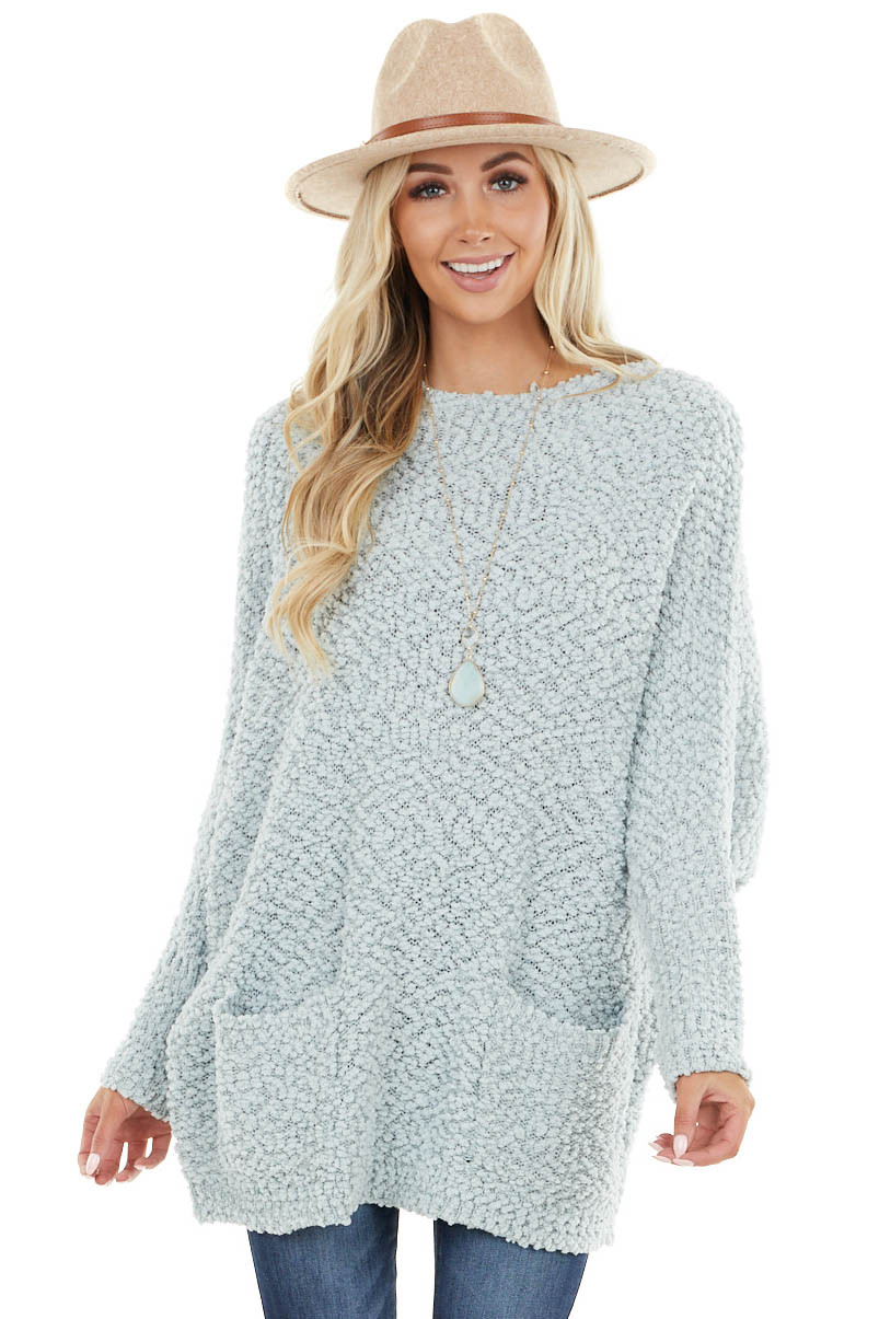Baby Blue Stretchy Knit Long Sweater with Pockets