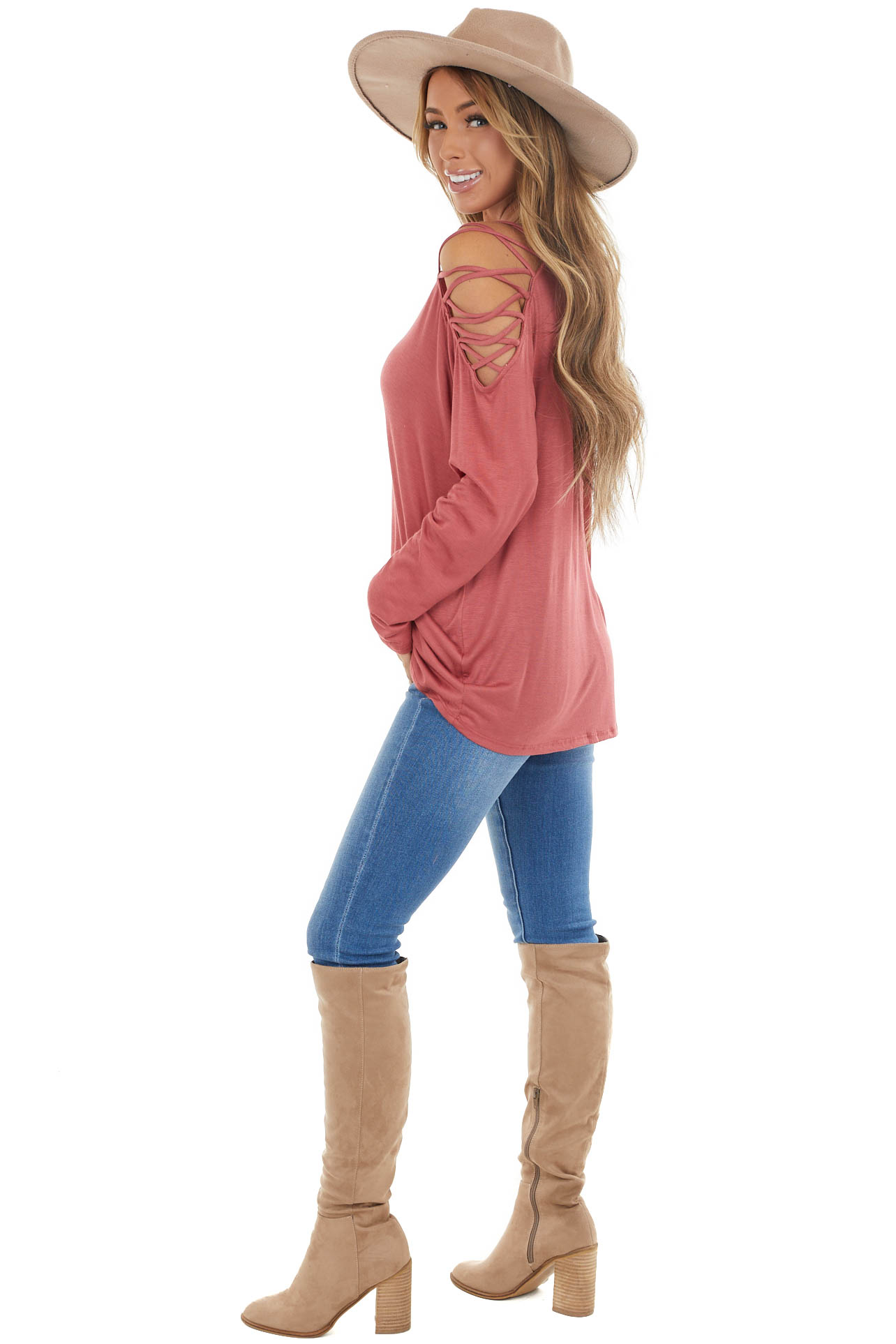 Marsala Long Sleeve Knit Top with Ladder Detail