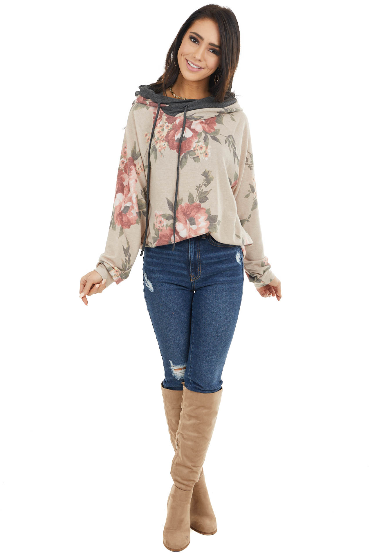 Latte and Charcoal Floral Print Long Sleeve Hoodie