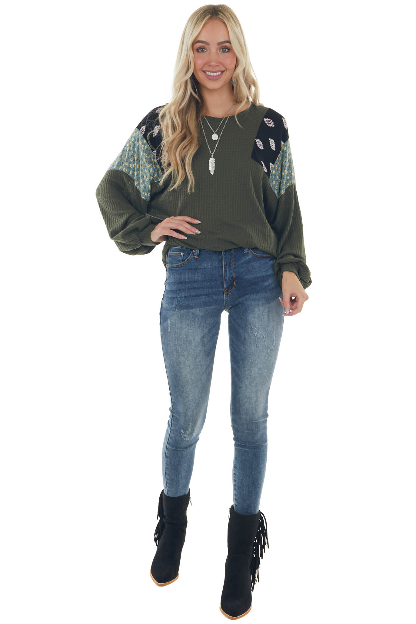 Olive Waffle Knit Top with Contrast Shoulders