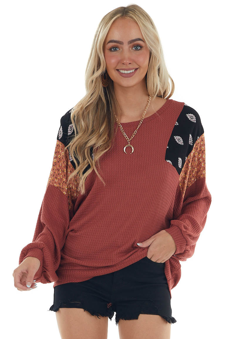Marsala Waffle Knit Top with Contrast Shoulders